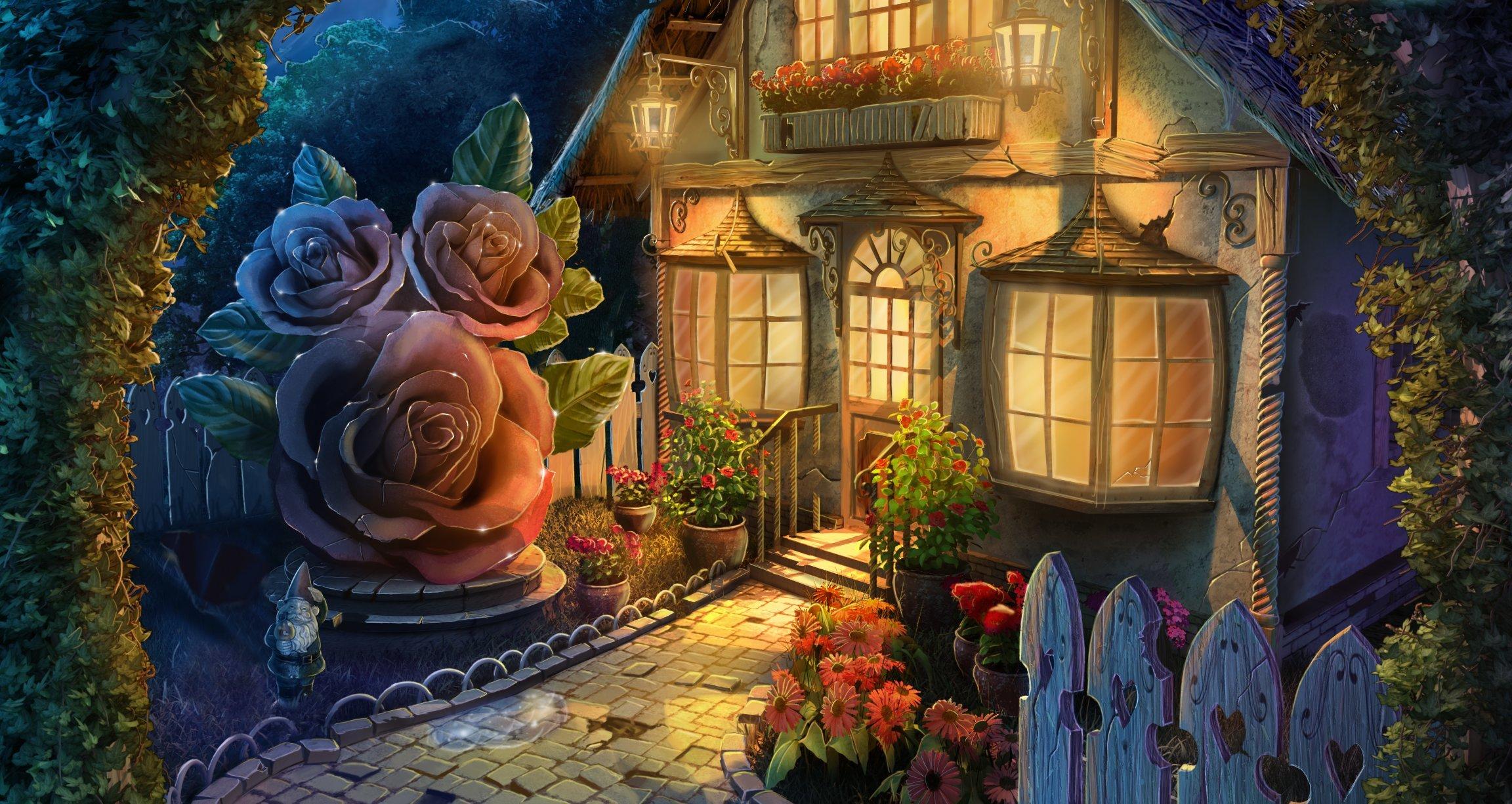 65383 скачать обои Цветы, Арт, Домик, Двор, Сказочный - заставки и картинки бесплатно