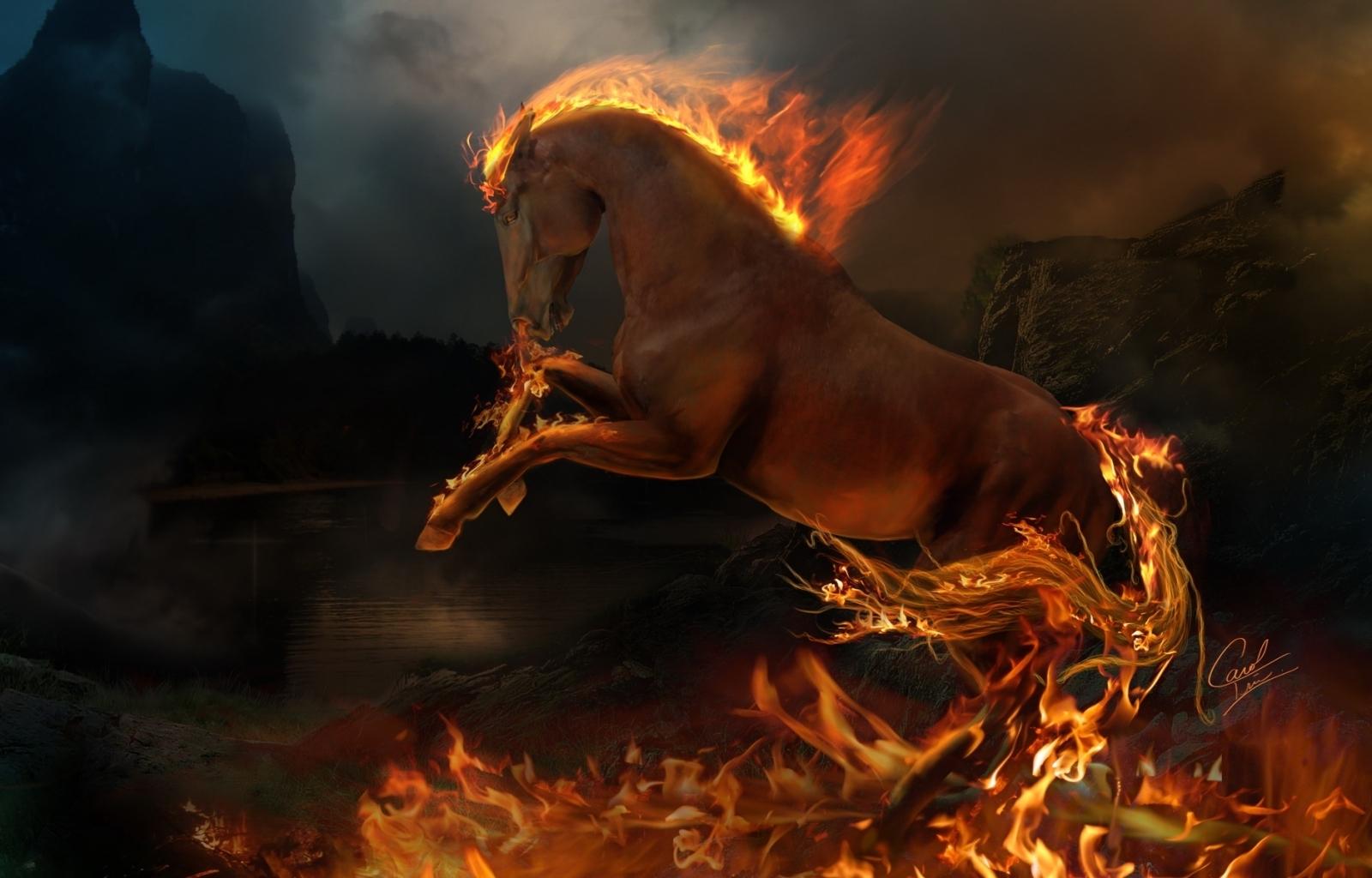 3786 免費下載壁紙 动物, 艺术, 马匹, 火 屏保和圖片