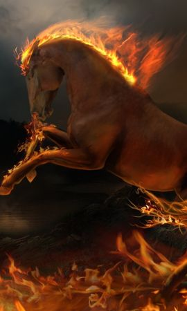 3786 download wallpaper Animals, Art, Horses, Fire screensavers and pictures for free