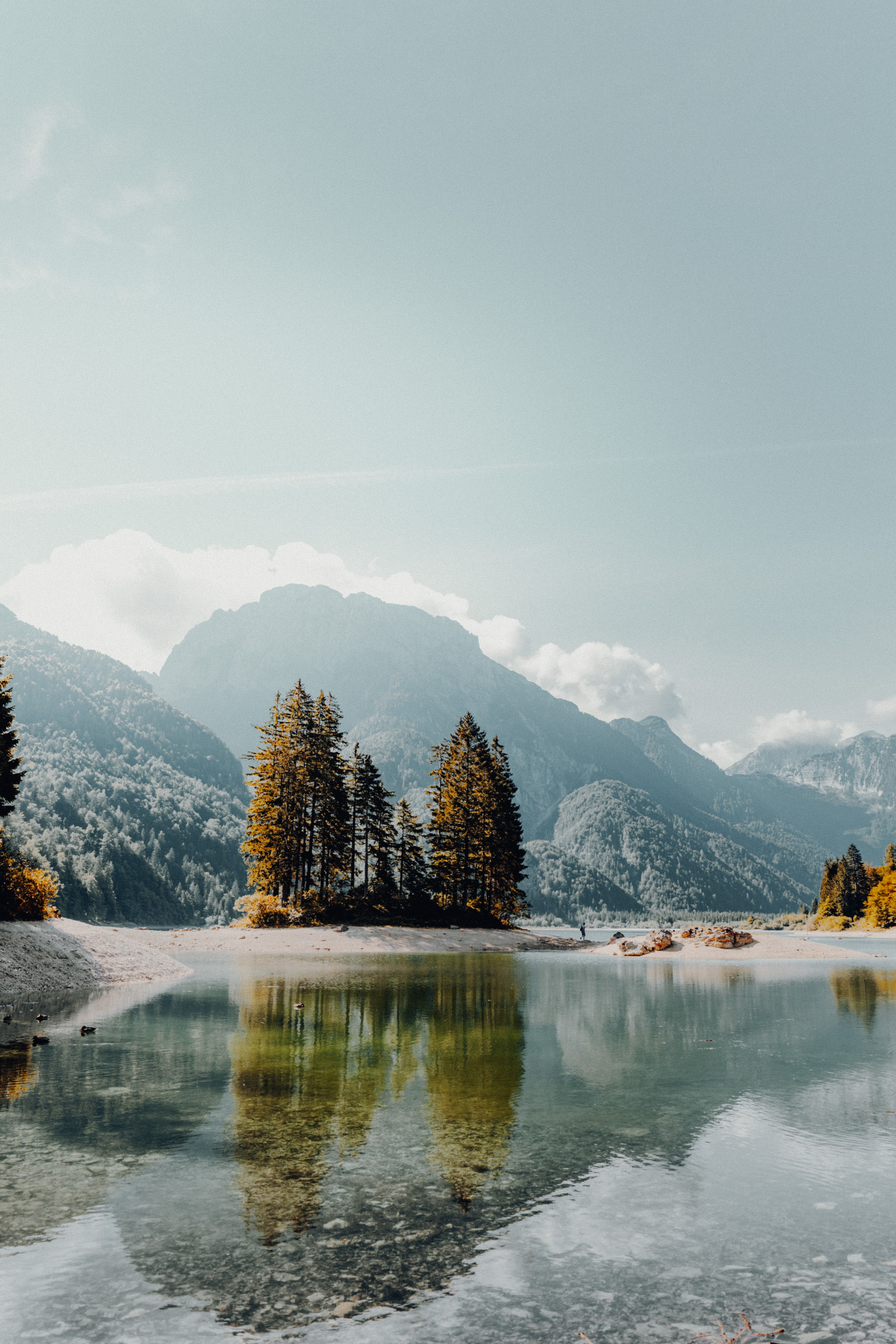 57458 download wallpaper Trees, Landscape, Nature, Mountains, Lake, Shore, Bank, Fog screensavers and pictures for free