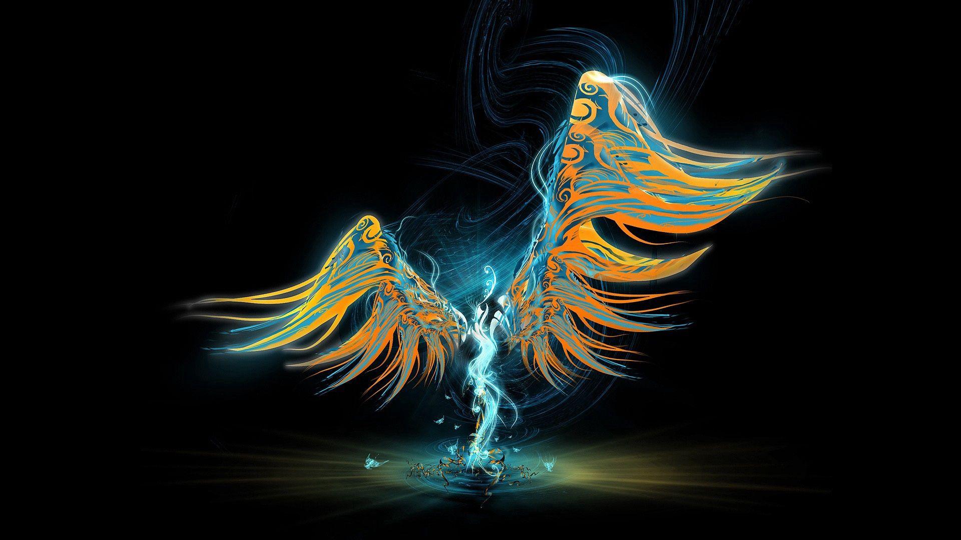 140676 Hintergrundbild herunterladen Engel, Abstrakt, Patterns, Scheinen, Licht, Bild, Zeichnung, Flügel - Bildschirmschoner und Bilder kostenlos