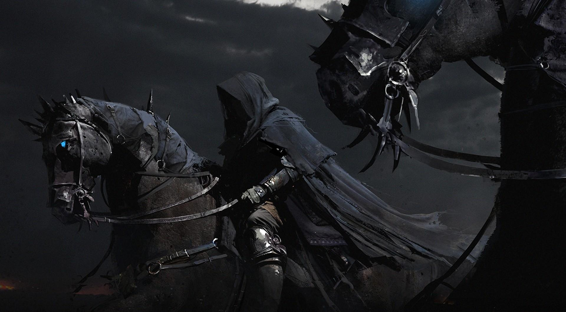 137492 download wallpaper Fantasy, Horses, Black Riders, Night, Cape screensavers and pictures for free