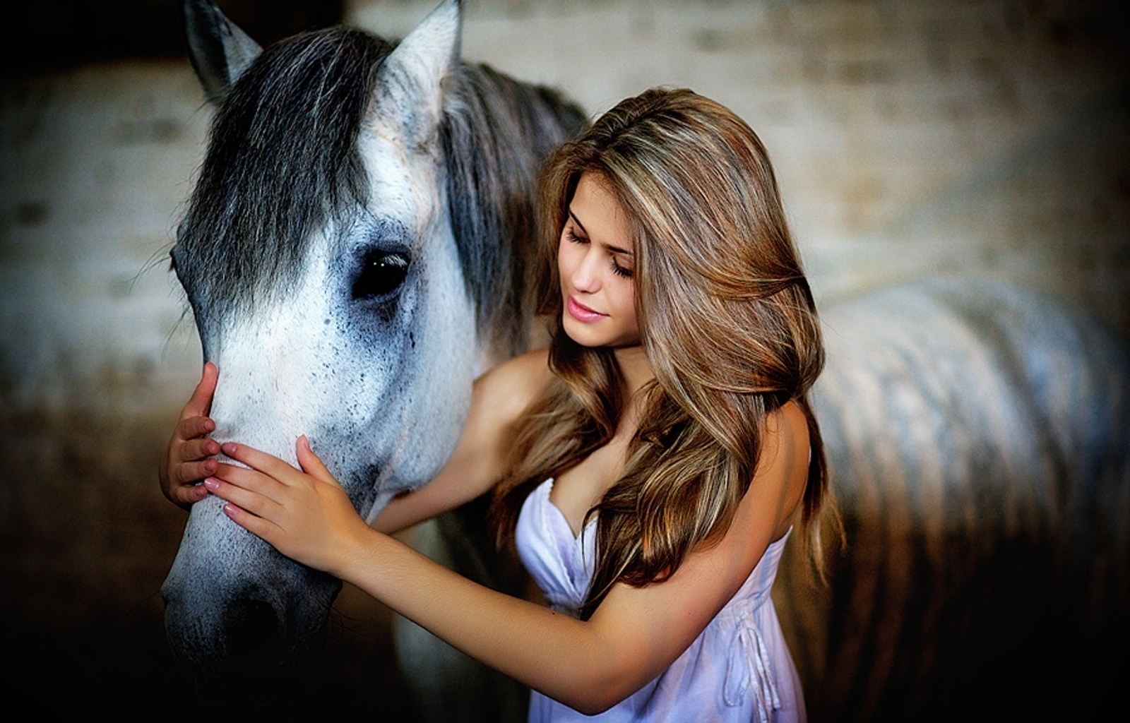 46583 download wallpaper People, Girls, Animals, Horses screensavers and pictures for free