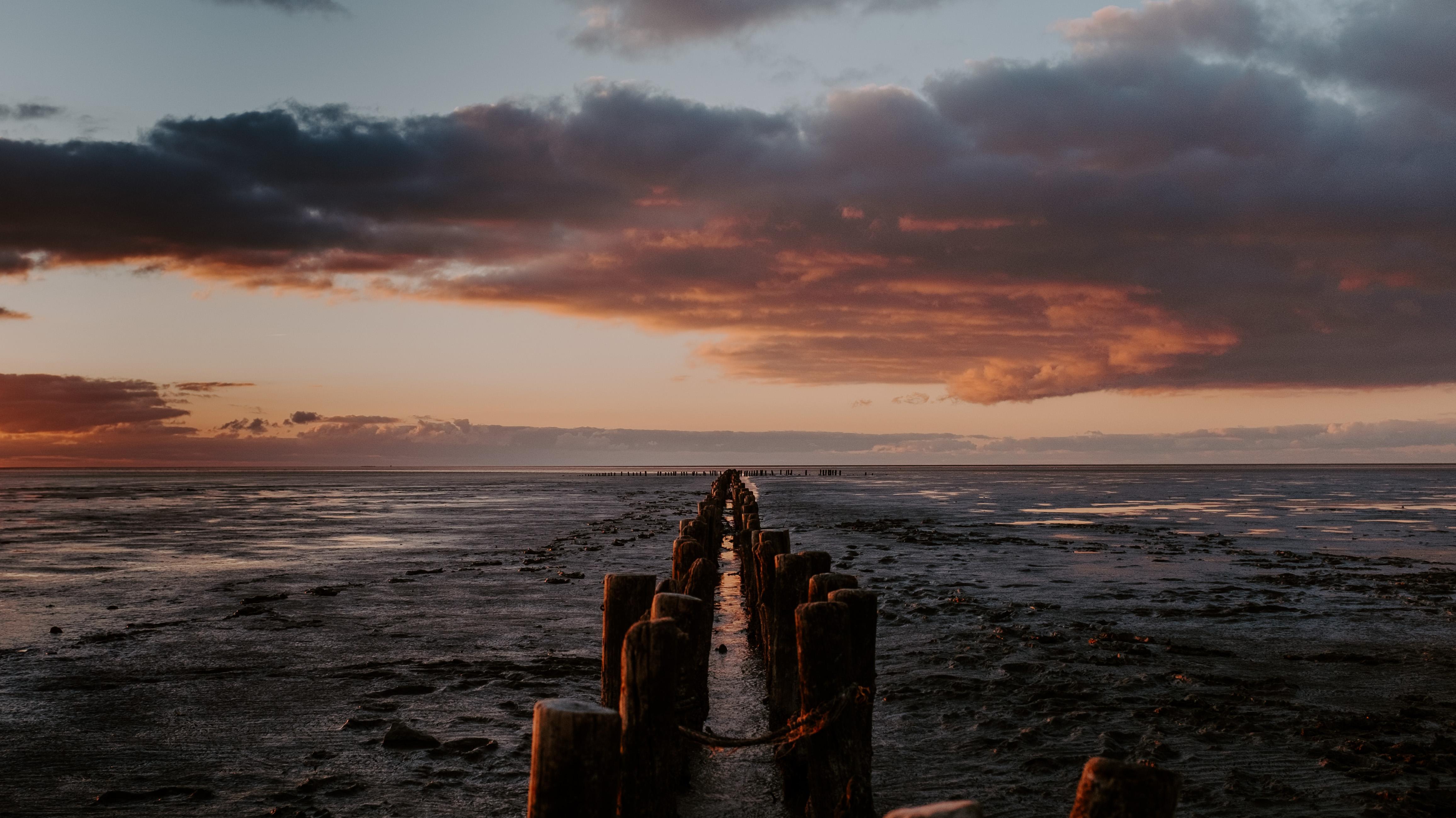 84883 Hintergrundbild 720x1280 kostenlos auf deinem Handy, lade Bilder Natur, Sunset, Horizont, Seebrücke, Pier, Ozean 720x1280 auf dein Handy herunter