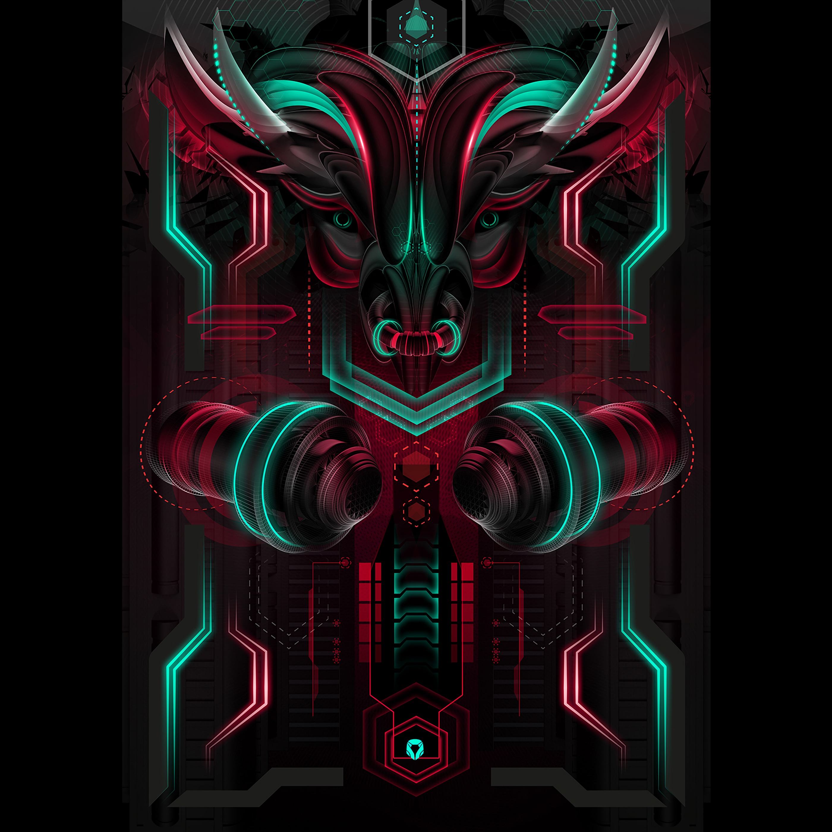 110557 download wallpaper Bull, Neon, Scheme, Art screensavers and pictures for free