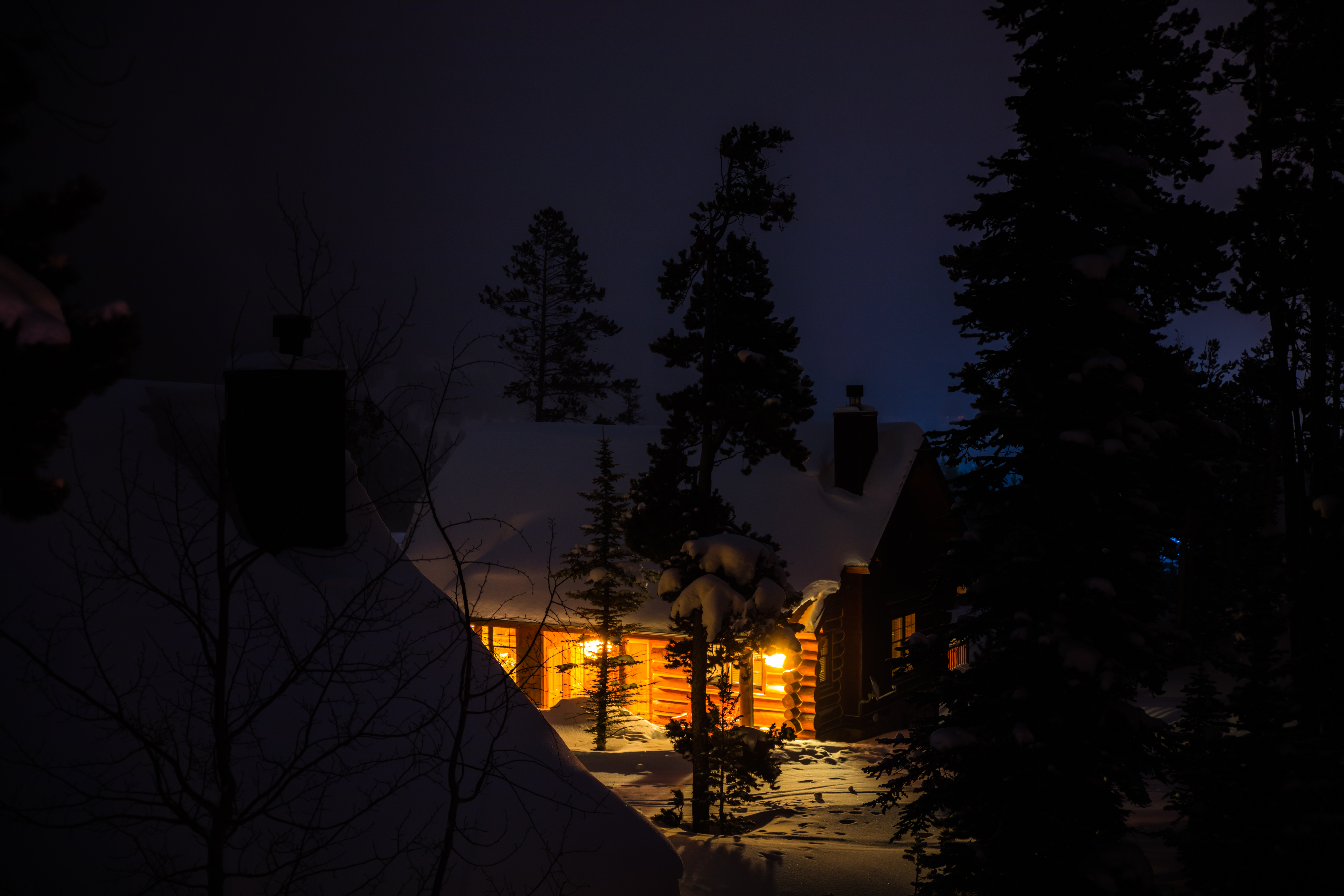 50457 Screensavers and Wallpapers Small House for phone. Download Winter, Nature, Trees, Night, Snow, Forest, Small House, Lodge pictures for free