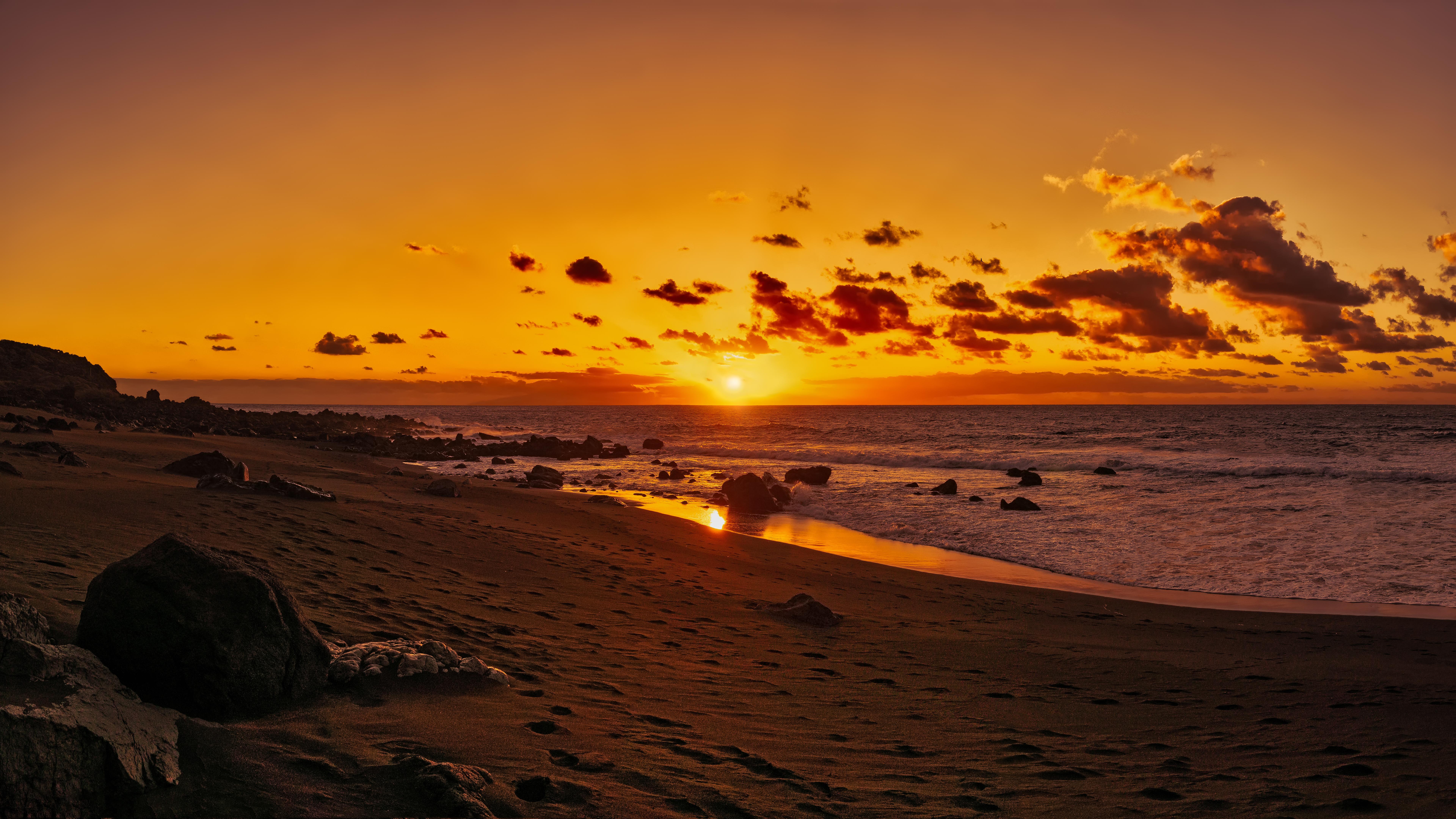 119167 Protetores de tela e papéis de parede Praia em seu telefone. Baixe Praia, Natureza, Pôr Do Sol, Areia, Horizonte, Costa, Banco, Oceano, Espanha, Ilhas Canárias fotos gratuitamente