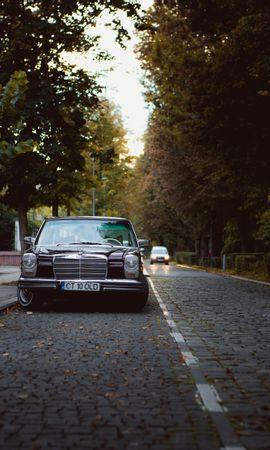 80162 télécharger le fond d'écran Voitures, Mercedes, Voiture, Le Noir, Vieille, Vieux, Route - économiseurs d'écran et images gratuitement