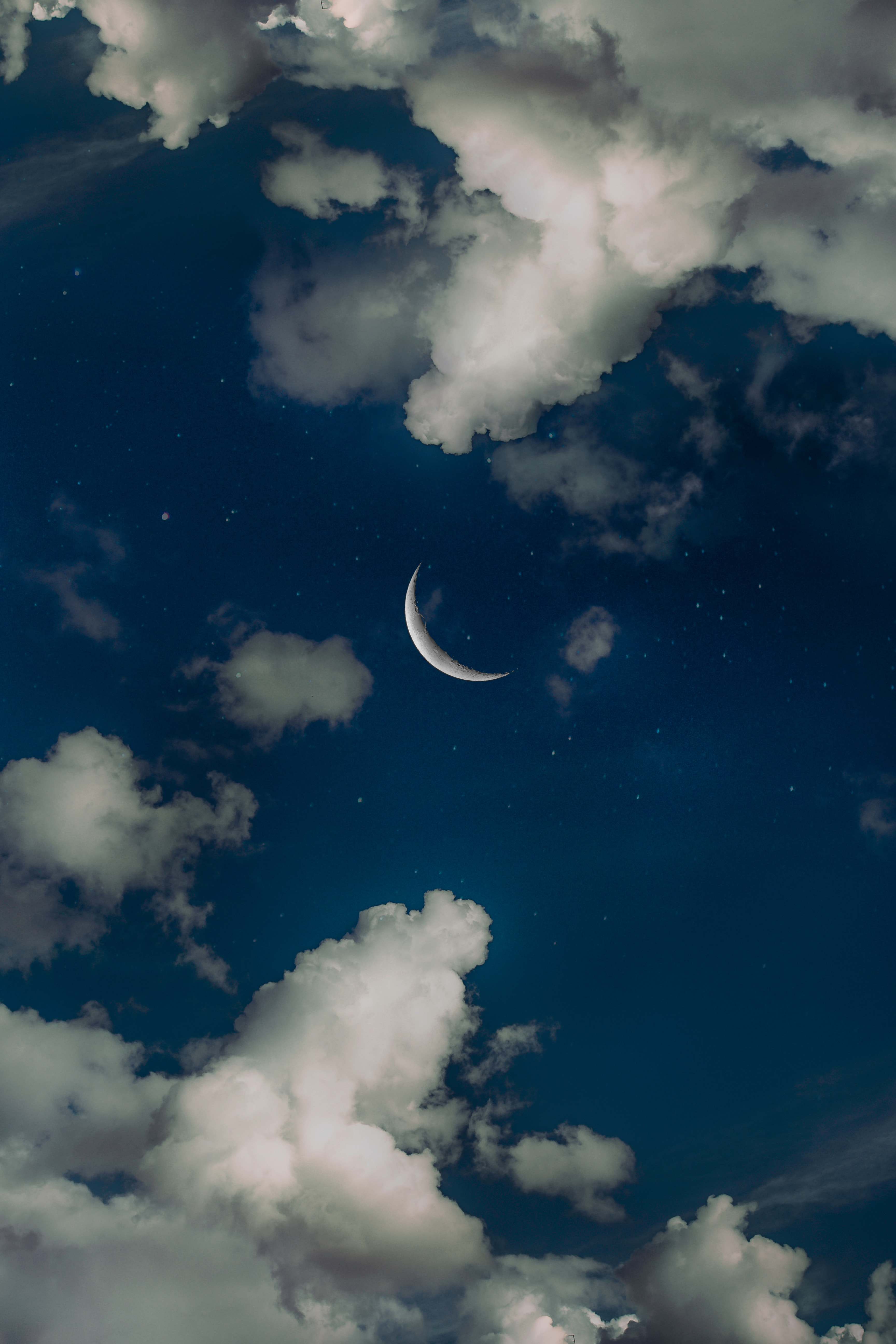 116339 скачать обои Облака, Луна, Природа, Небо, Звезды, Ночь - заставки и картинки бесплатно