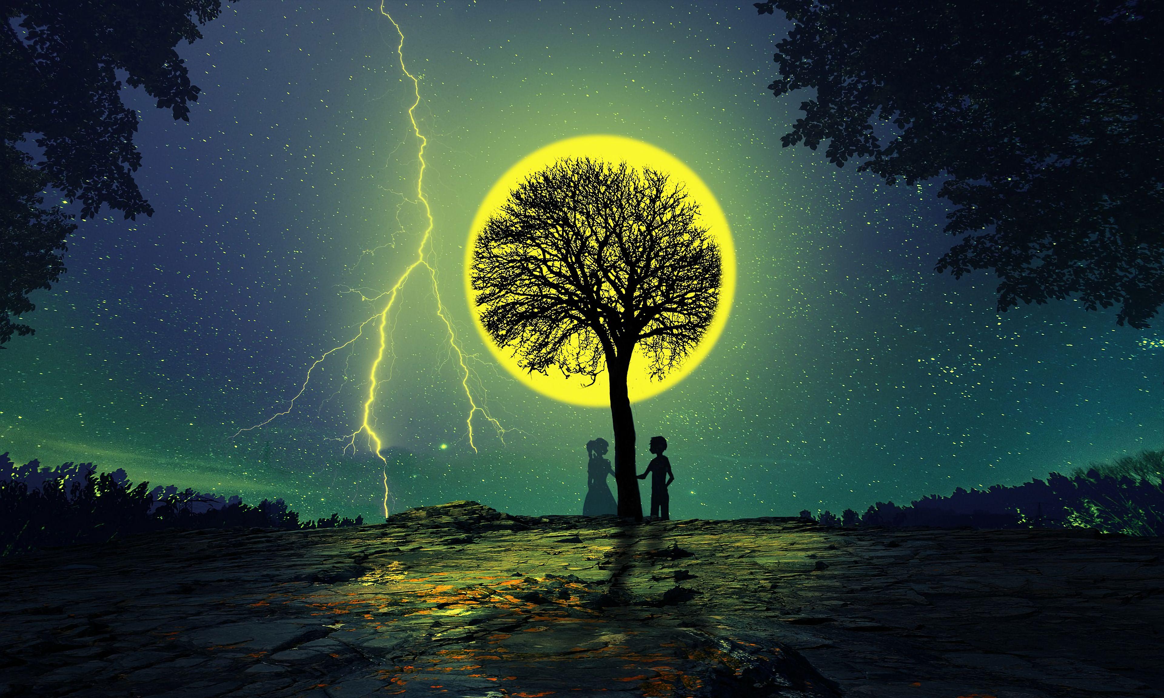 113720 Заставки и Обои Молния на телефон. Скачать Молния, Звезды, Ночь, Любовь, Пара, Дерево, Силуэты картинки бесплатно