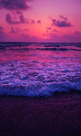 104219 скачать обои Природа, Море, Закат, Горизонт, Прибой, Пена - заставки и картинки бесплатно