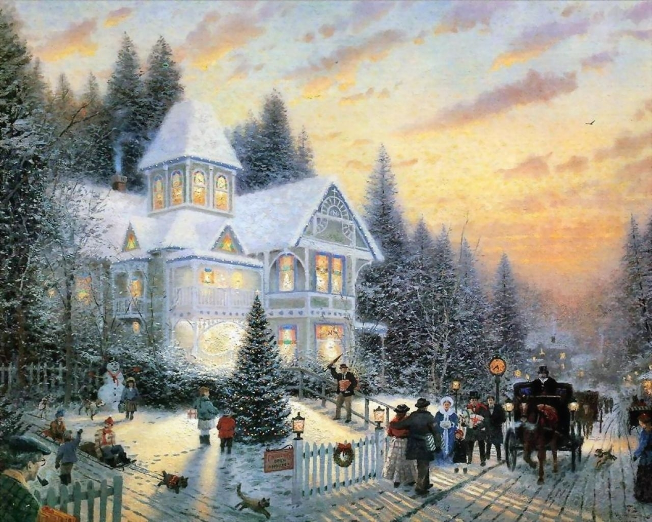429 download wallpaper People, Winter, Houses, Pictures screensavers and pictures for free