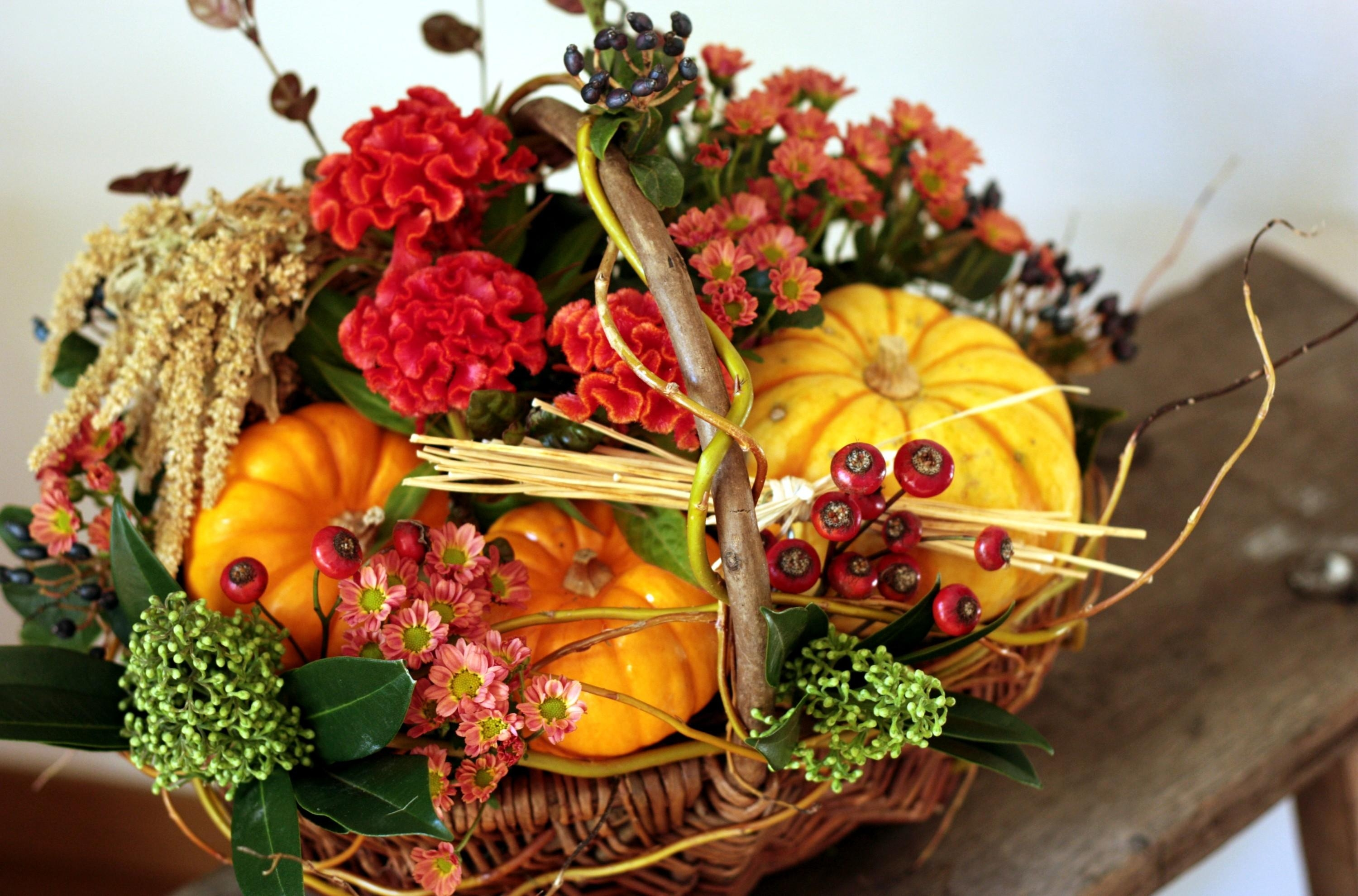 77945 download wallpaper Flowers, Amaranth, Basket, Pumpkin, Composition, Berries screensavers and pictures for free
