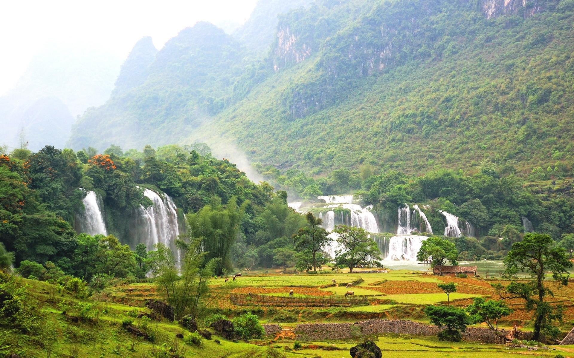 32732 скачать обои Пейзаж, Река, Горы, Водопады - заставки и картинки бесплатно