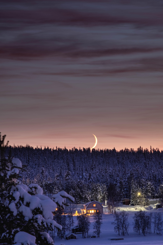 96293 免費下載壁紙 性质, 森林, 月球, 小房子, 小木屋, 夜, 雪, 冬天 屏保和圖片
