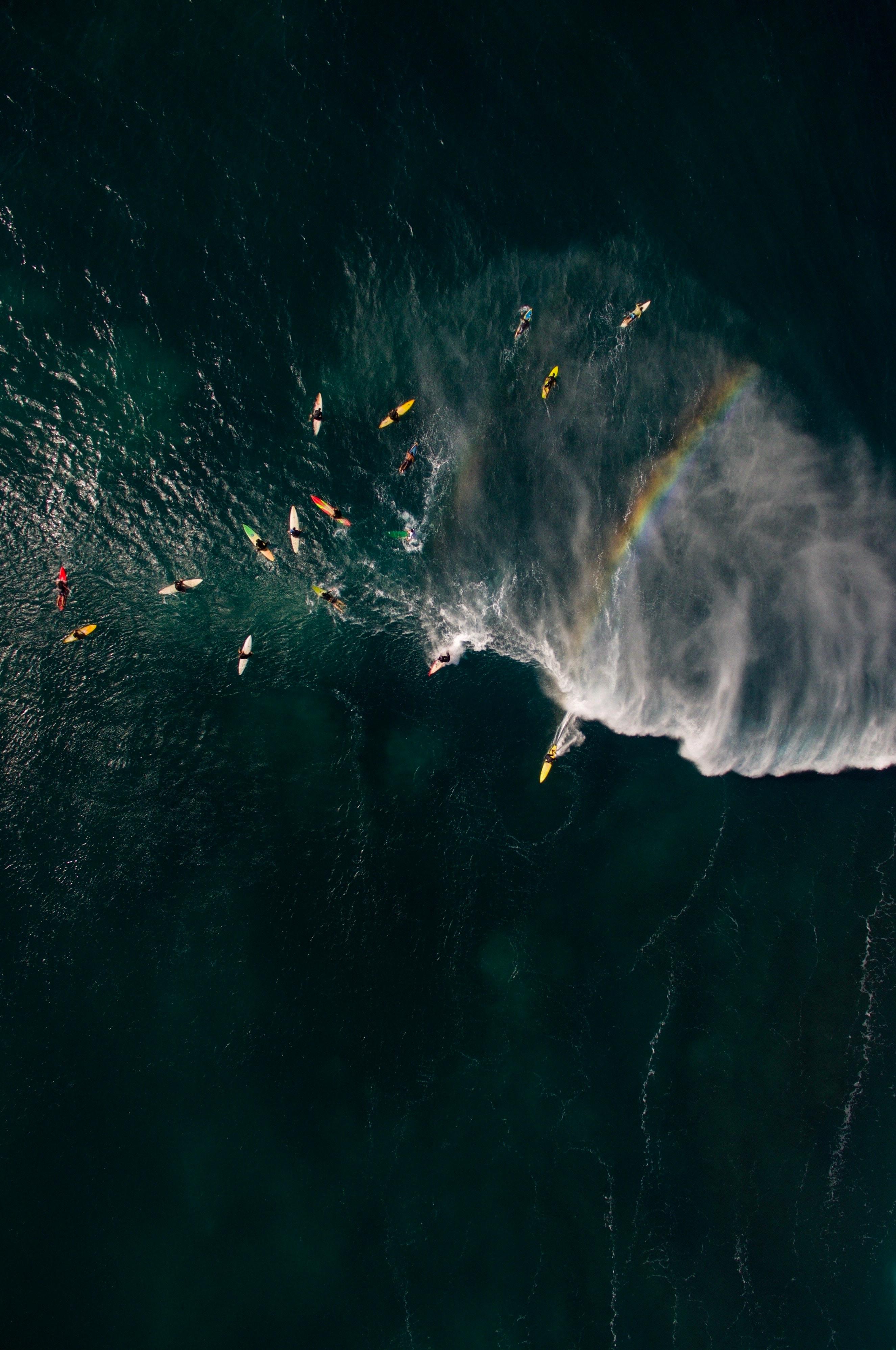 80351 Заставки и Обои Радуга на телефон. Скачать Спорт, Море, Волны, Серфинг, Радуга, Вид Сверху, Серферы картинки бесплатно