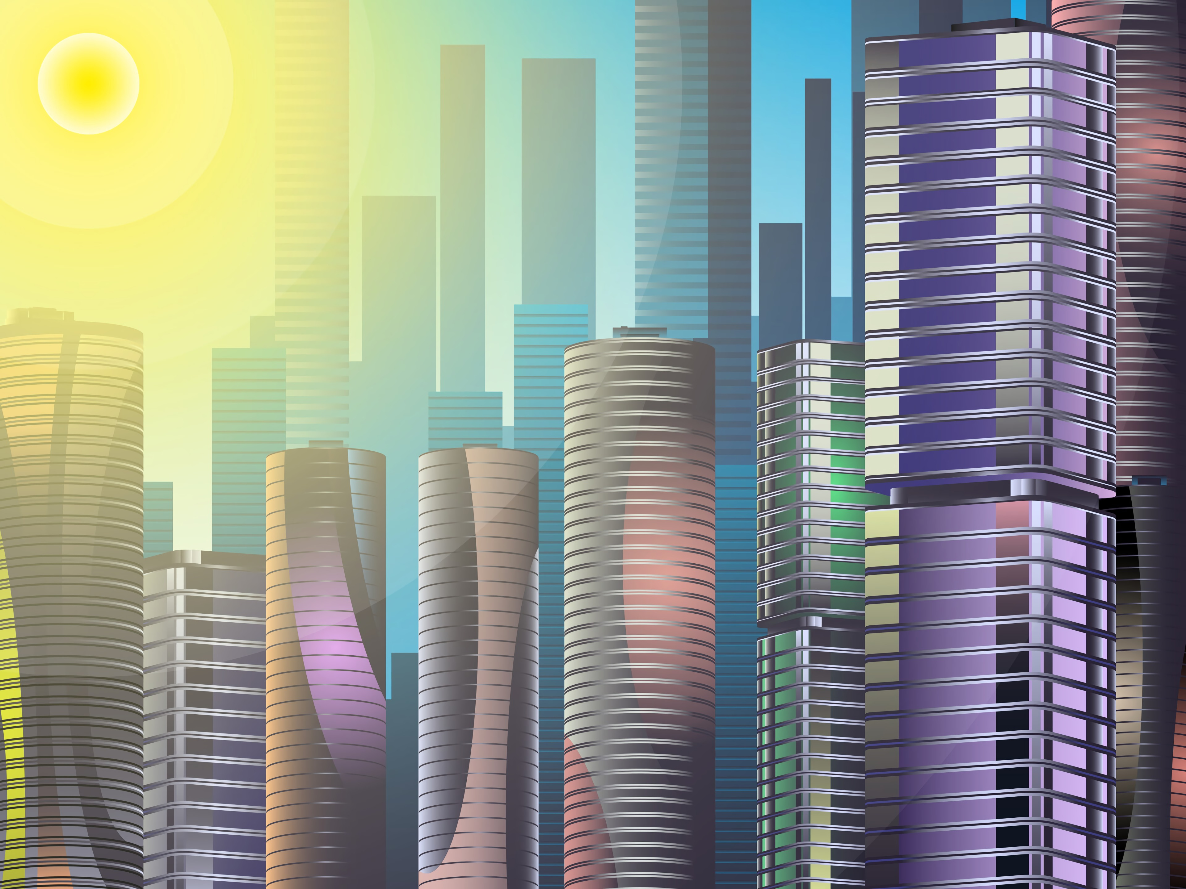 117893 download wallpaper Skyscrapers, City, Building, Art, Sun screensavers and pictures for free
