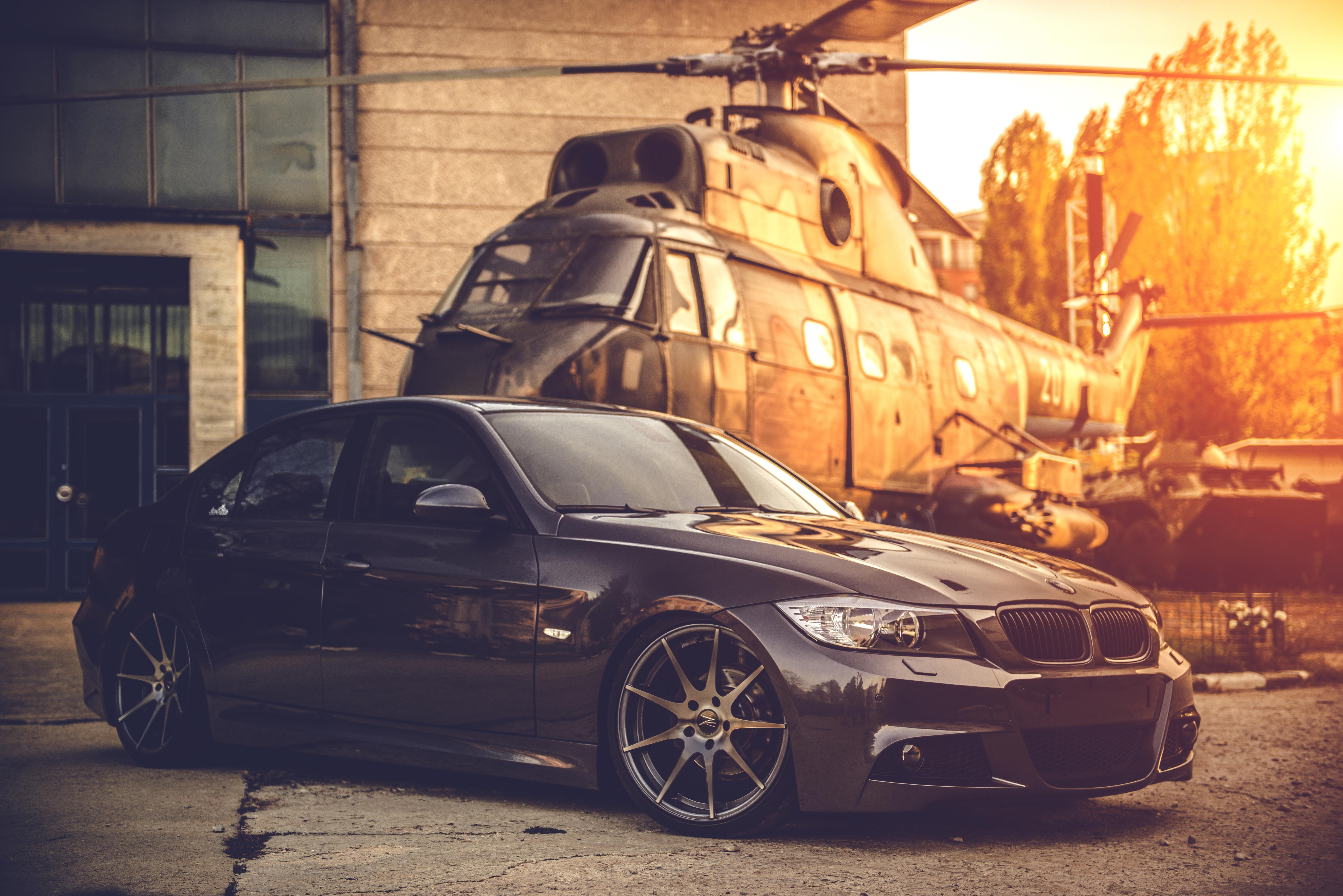 72254 Hintergrundbild herunterladen Bmw, Hubschrauber, Cars, Das Schwarze, E90, Tief Konkav - Bildschirmschoner und Bilder kostenlos
