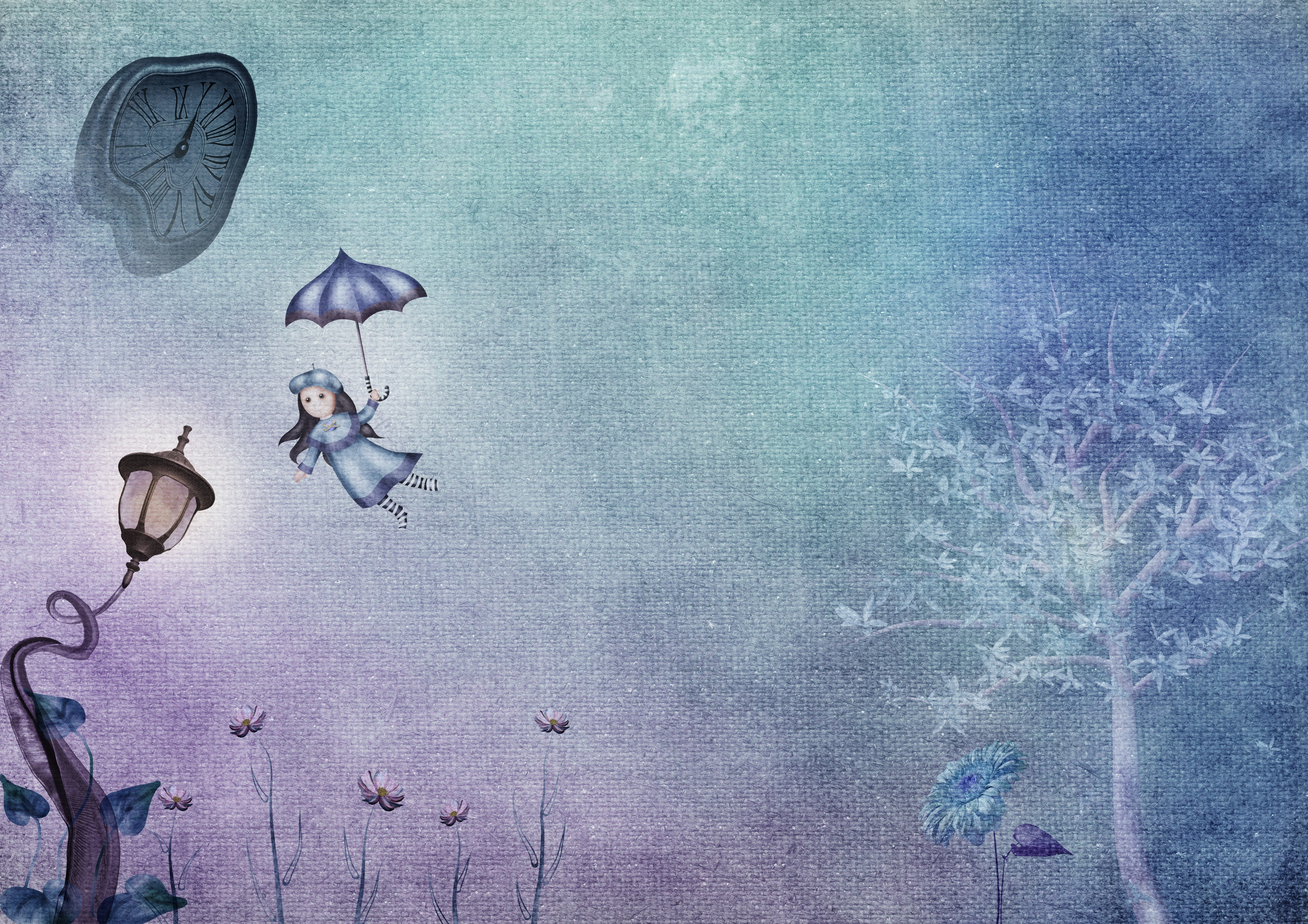 69230 download wallpaper Child, Flight, Fantasy, Art, Lamp, Lantern, Clock screensavers and pictures for free