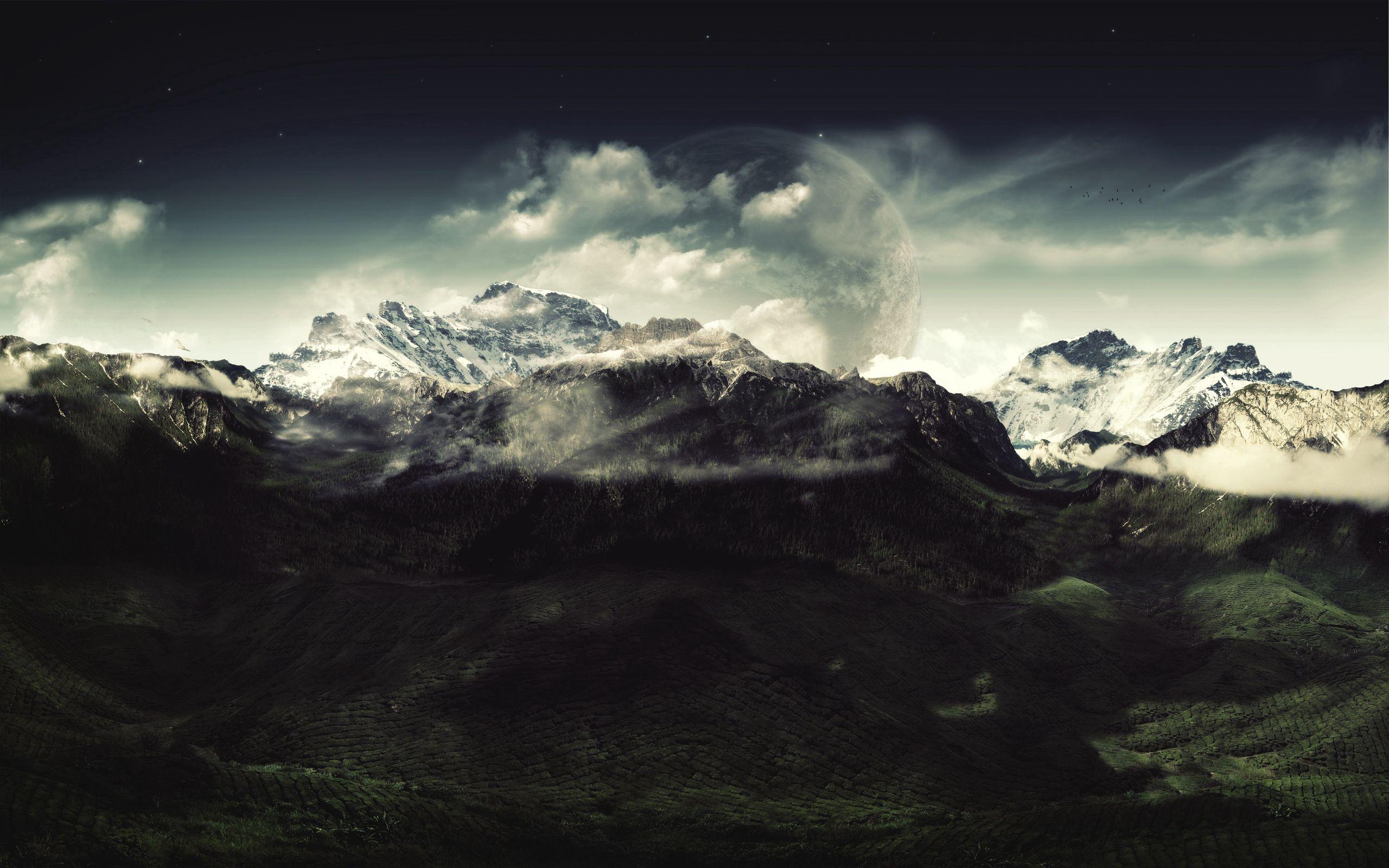 86864 скачать обои Природа, Луна, Облака, Высота, Цвета, Краски, Оттенки, Мрачные, Мистика, Горы - заставки и картинки бесплатно