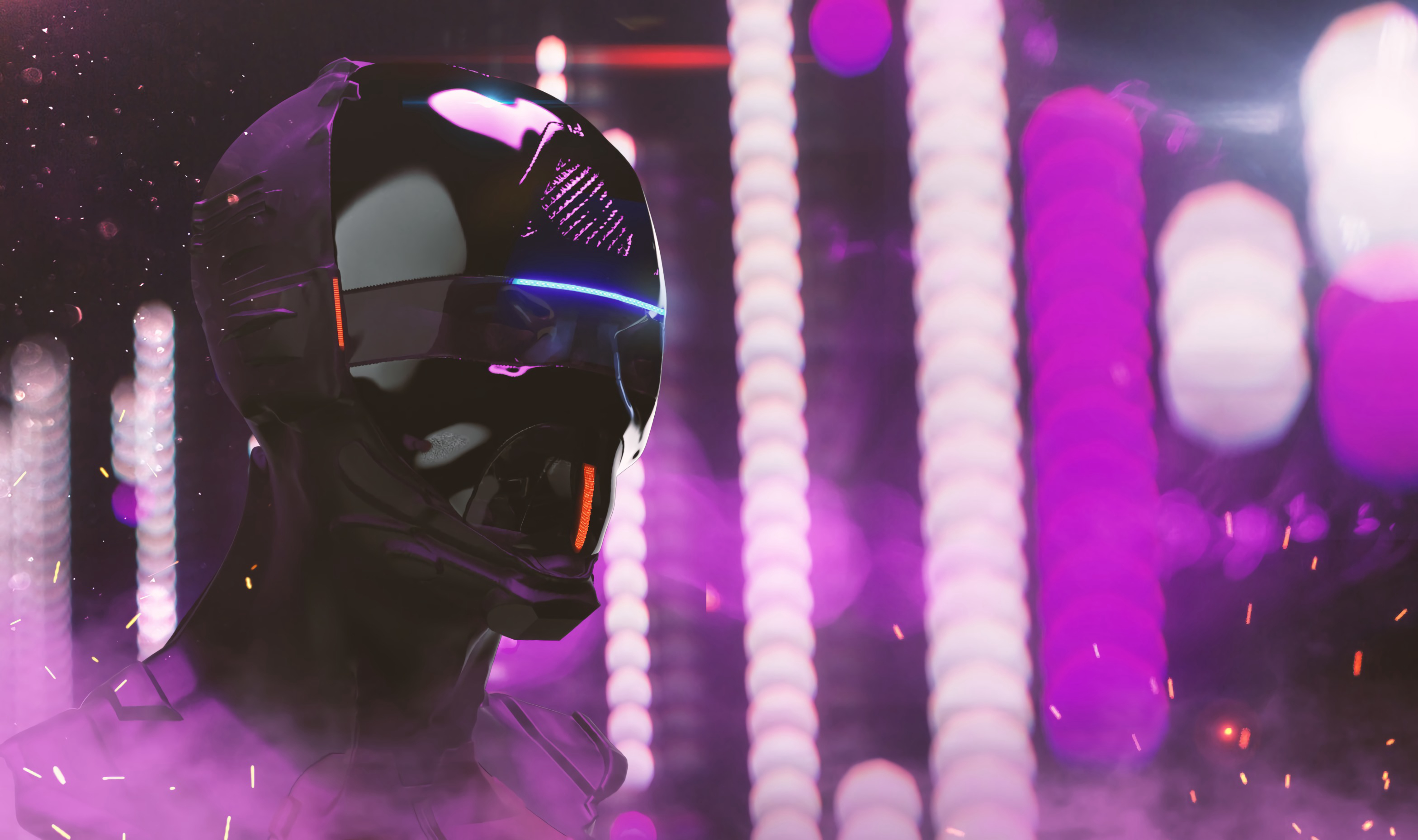 155328 Screensavers and Wallpapers Robot for phone. Download Art, Cyberpunk, Neon, Backlight, Illumination, Mask, Helmet, Head, Robot pictures for free