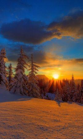 45582 завантажити шпалери Пейзаж, Зима, Природа, Захід, Сніг - заставки і картинки безкоштовно