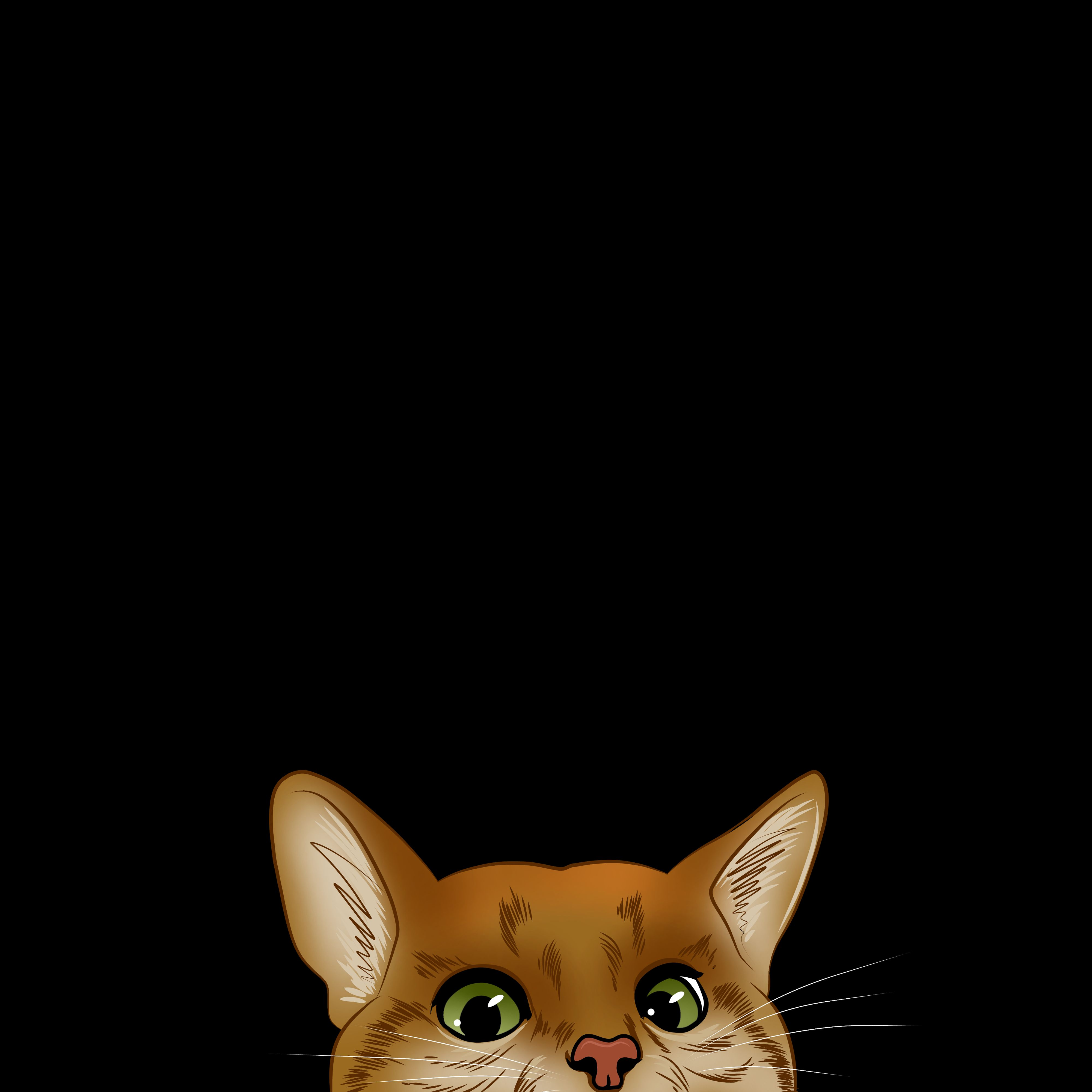 105288 download wallpaper Cat, Muzzle, Peek Out, Look Out, Hide, Art screensavers and pictures for free