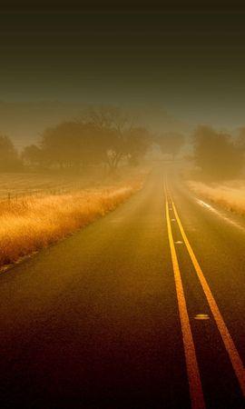 155804 Заставки и Обои Поля на телефон. Скачать Природа, Дорога, Линии, Туман, Полосы, Неизвестность, Асфальт, Поля, Трава, Осень картинки бесплатно