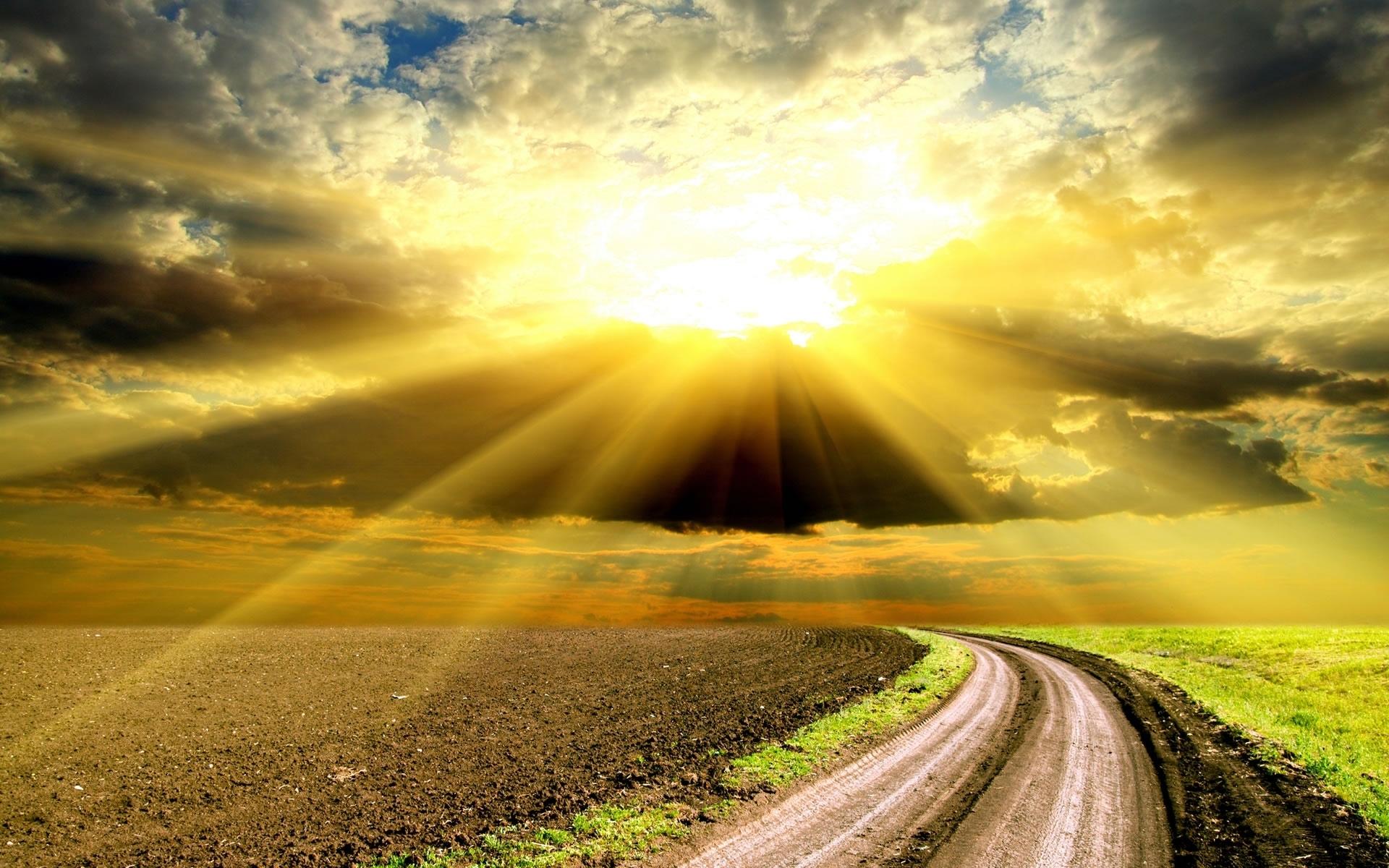25543 скачать обои Пейзаж, Поля, Небо, Дороги, Солнце, Облака - заставки и картинки бесплатно