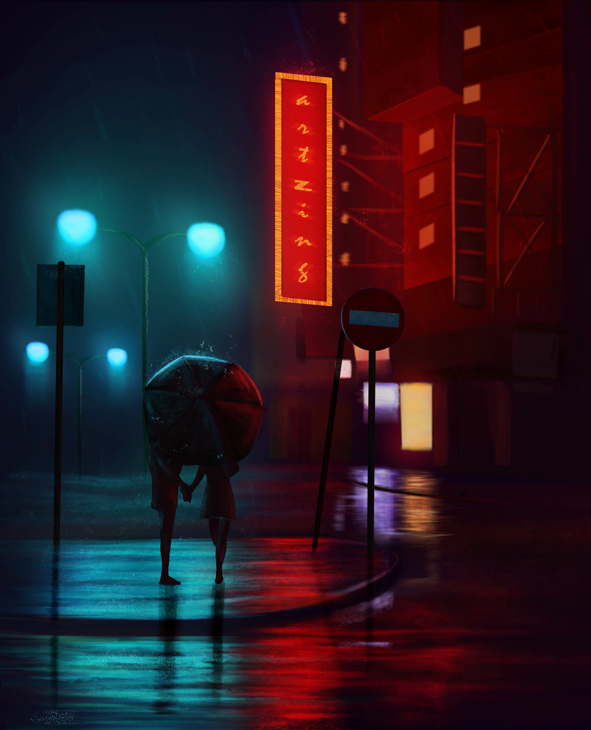 85571 Screensavers and Wallpapers Umbrella for phone. Download Art, Rain, Lights, Dark, Couple, Pair, Lanterns, Night City, Umbrella, Street pictures for free
