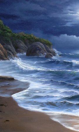 18037 скачать обои Пейзаж, Море, Ночь, Пляж, Рисунки - заставки и картинки бесплатно