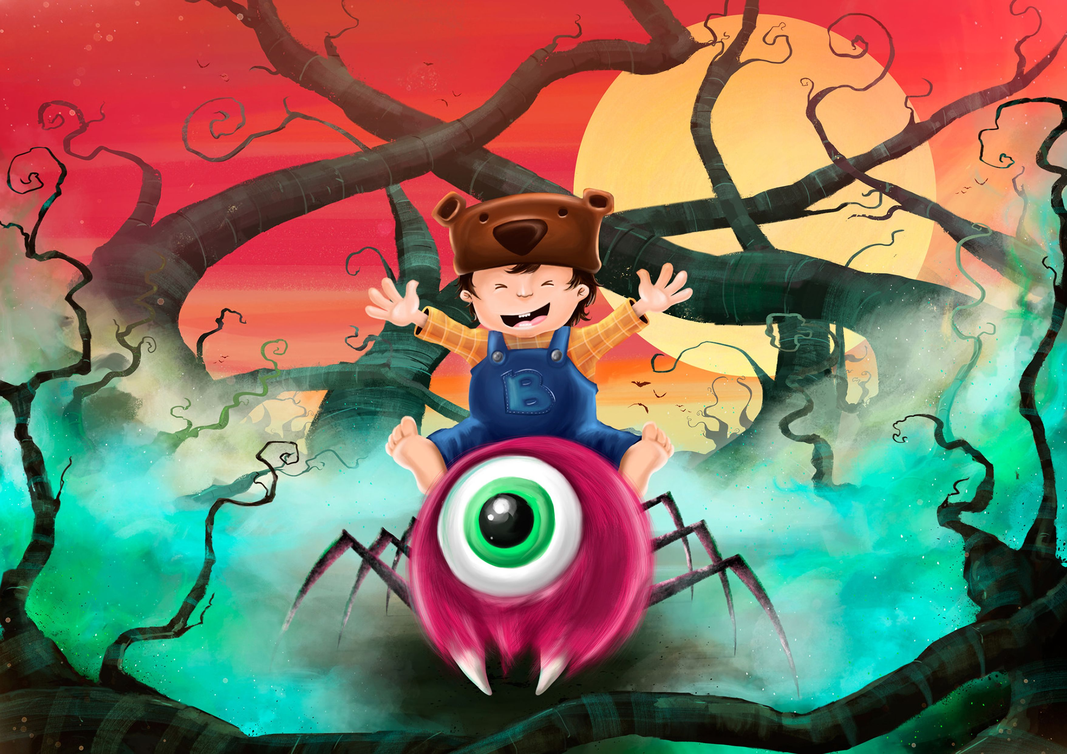 146497 download wallpaper Child, Monster, Happy, Cheery, Art, Nice, Sweetheart screensavers and pictures for free
