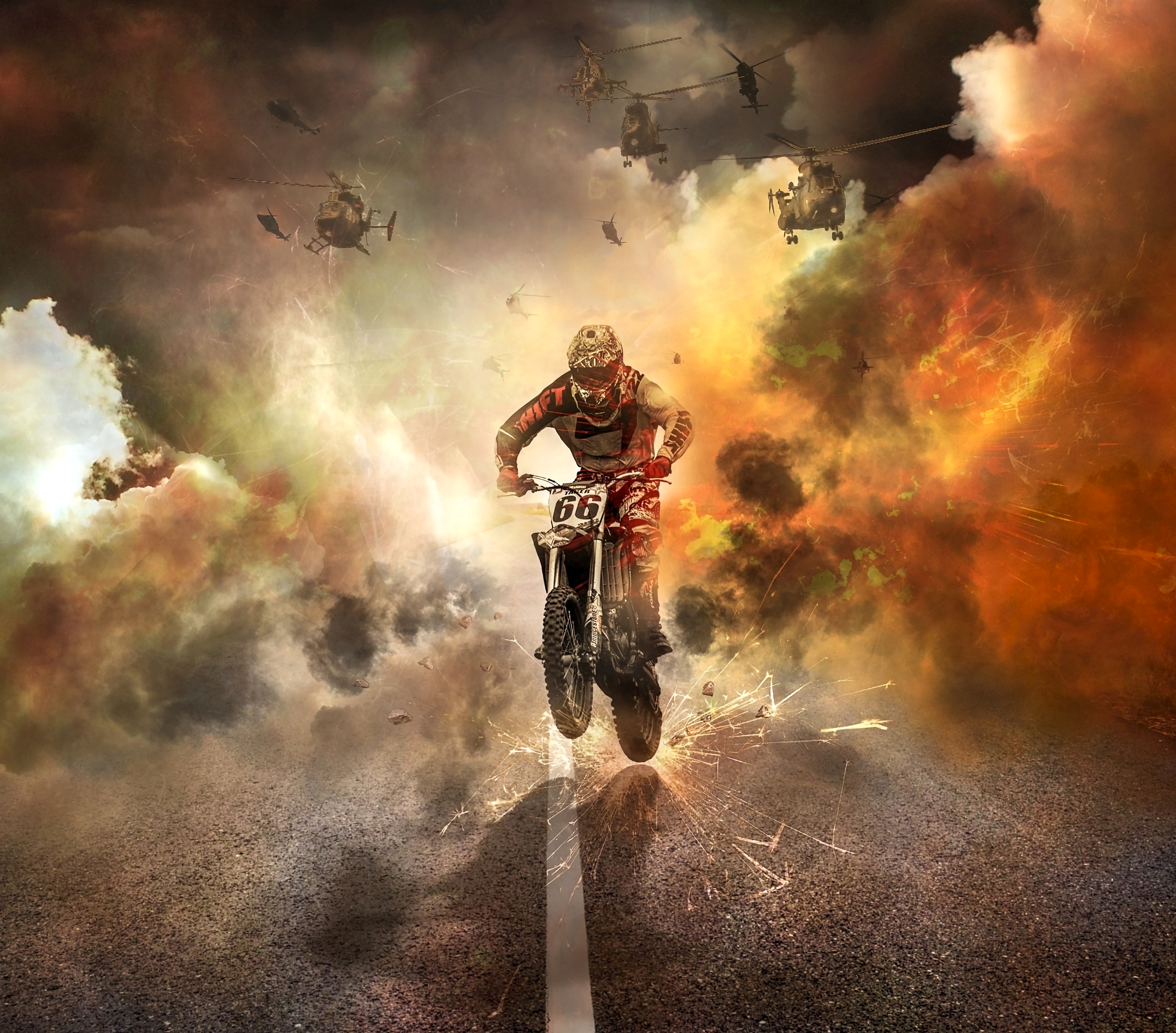 146798 Screensavers and Wallpapers Road for phone. Download Fire, Helicopters, Motorcycles, Sparks, Road, Motorcyclist, Motorcycle pictures for free