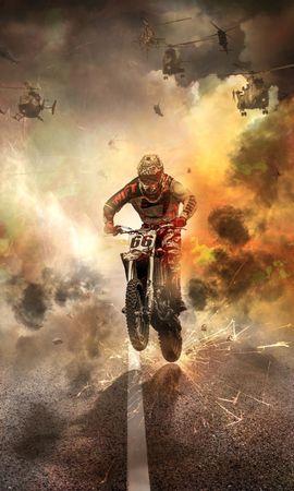 146798 завантажити шпалери Мотоцикли, Мотоцикліст, Мотоцикл, Іскри, Вогонь, Дорога, Вертольоти - заставки і картинки безкоштовно