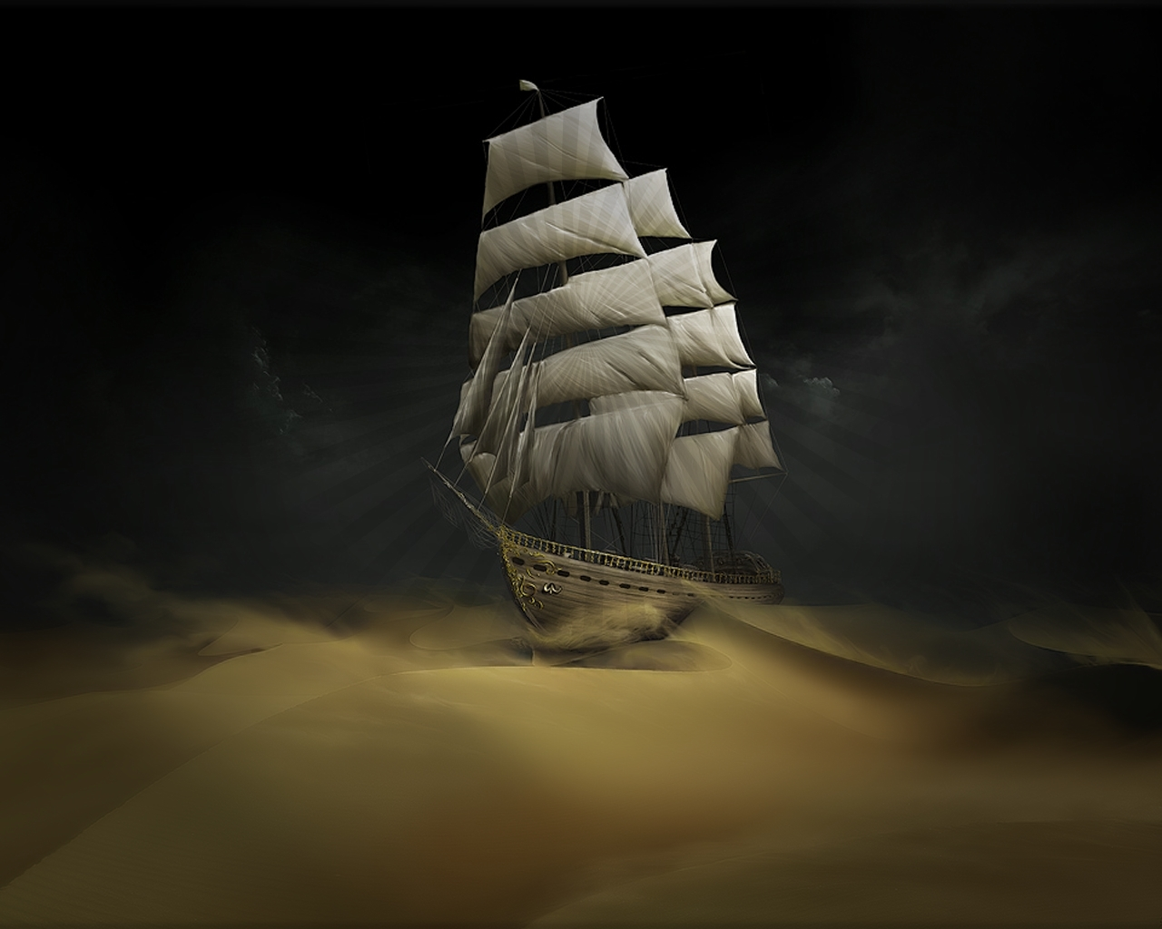 2630 download wallpaper Landscape, Art, Ships, Desert screensavers and pictures for free