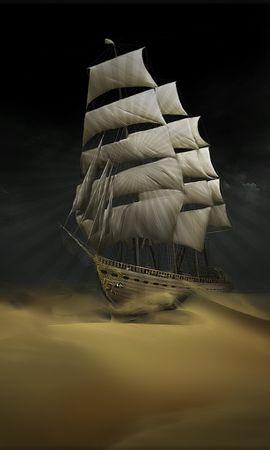 2630 скачать обои Пейзаж, Арт, Корабли, Пустыня - заставки и картинки бесплатно