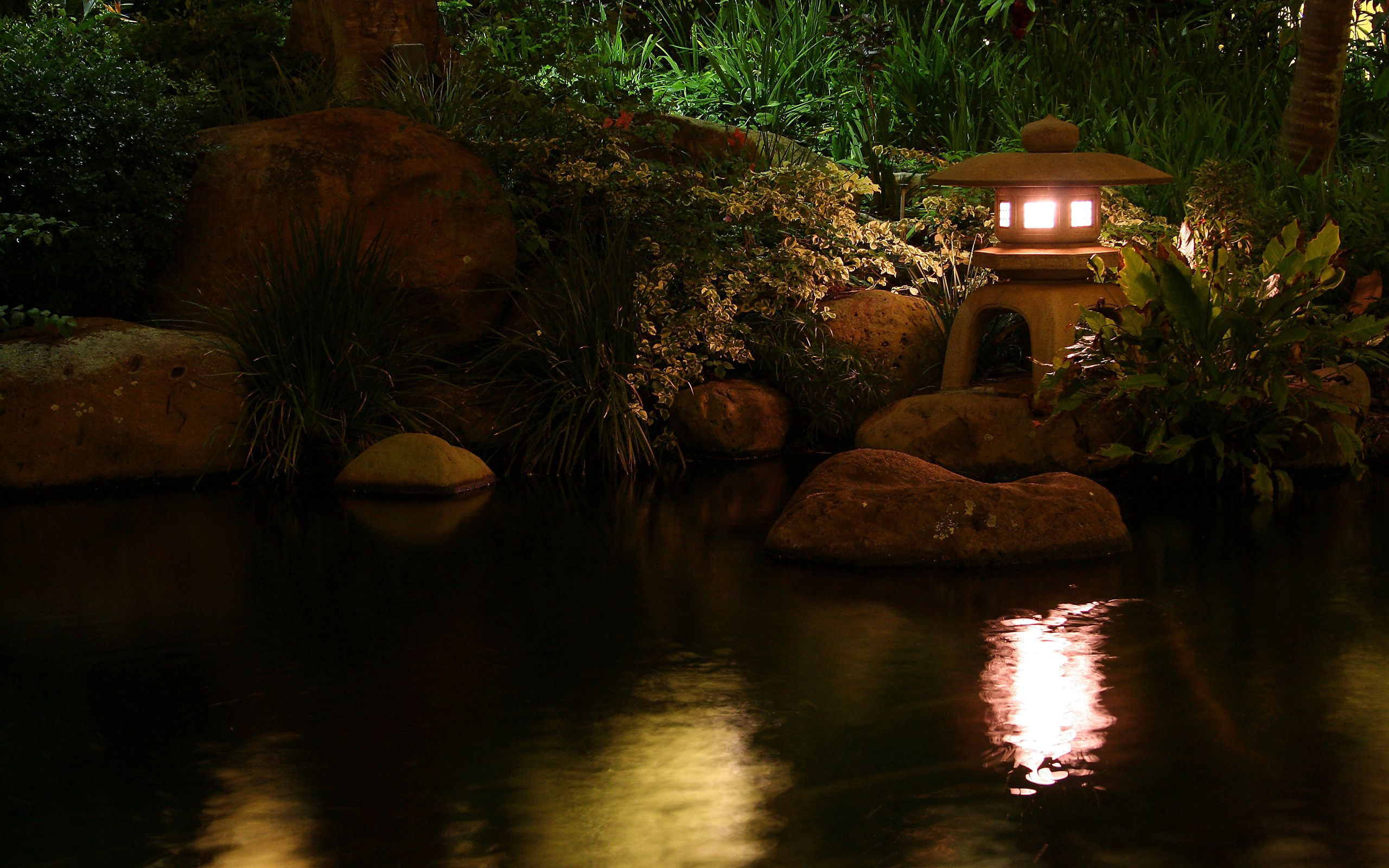 88799 Screensavers and Wallpapers Lamp for phone. Download Nature, Stones, Night, Reflection, Shine, Light, Vegetation, Lamp, Lantern, Pond, China pictures for free