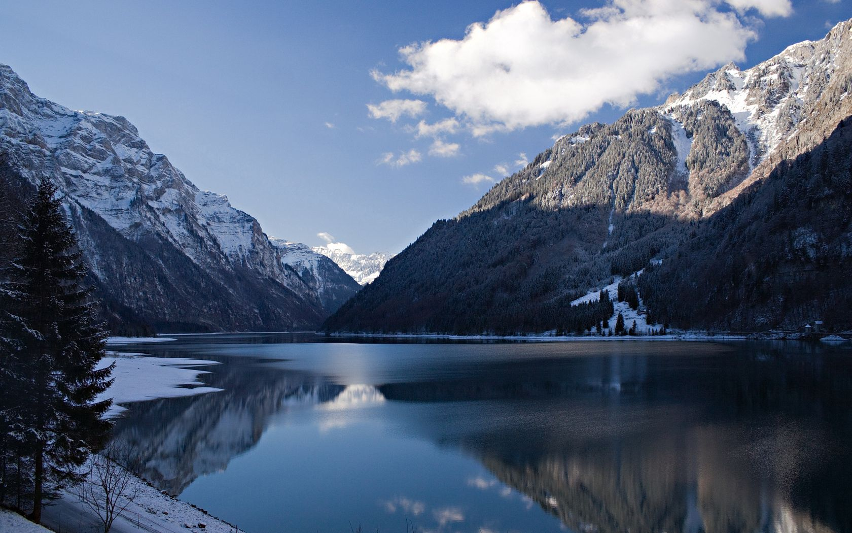 90044 скачать обои Природа, Зима, Холод, Гора, Тень, Озеро, Пейзаж - заставки и картинки бесплатно