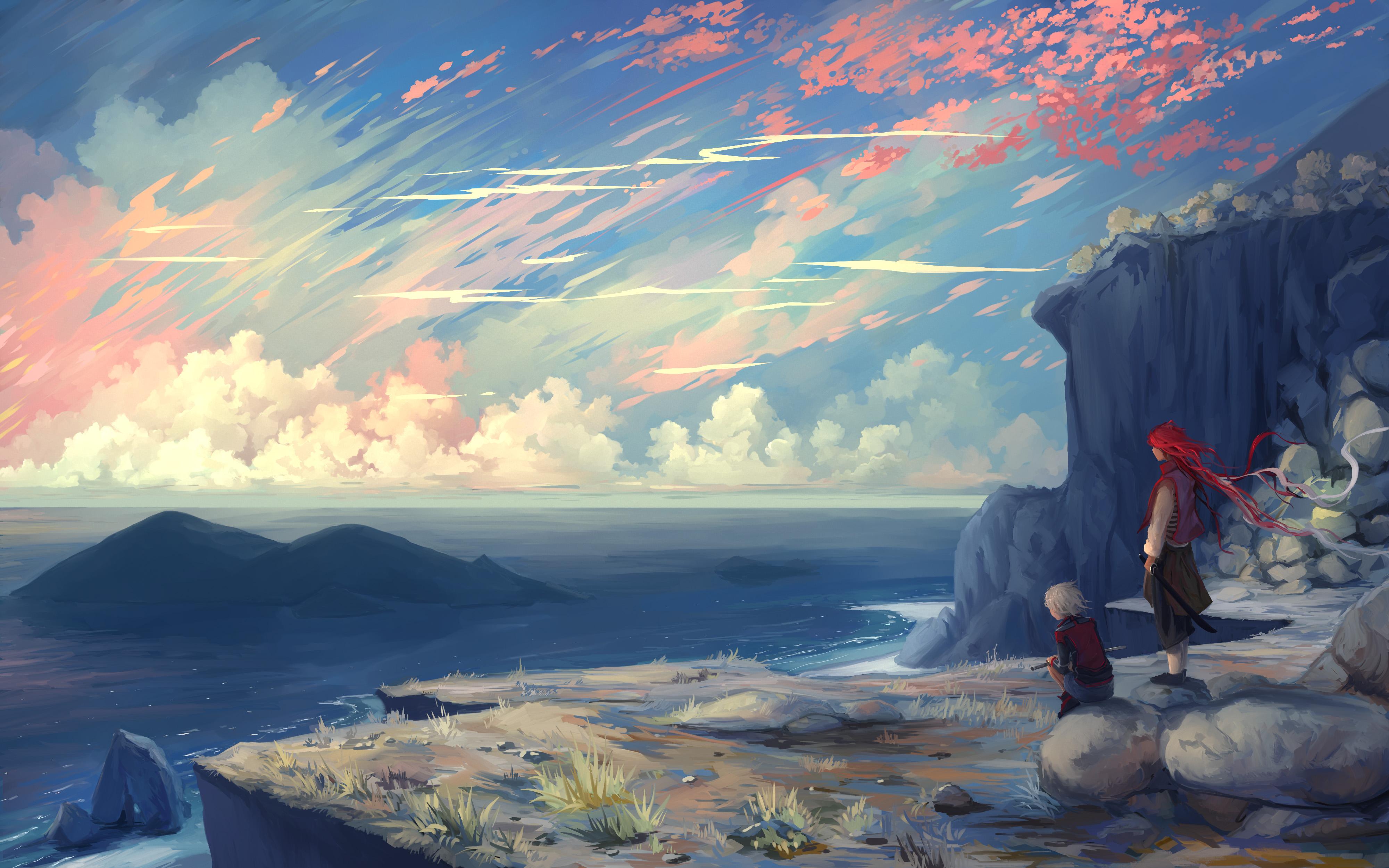 92267 скачать обои Арт, Горы, Море, Пара, Обрыв - заставки и картинки бесплатно