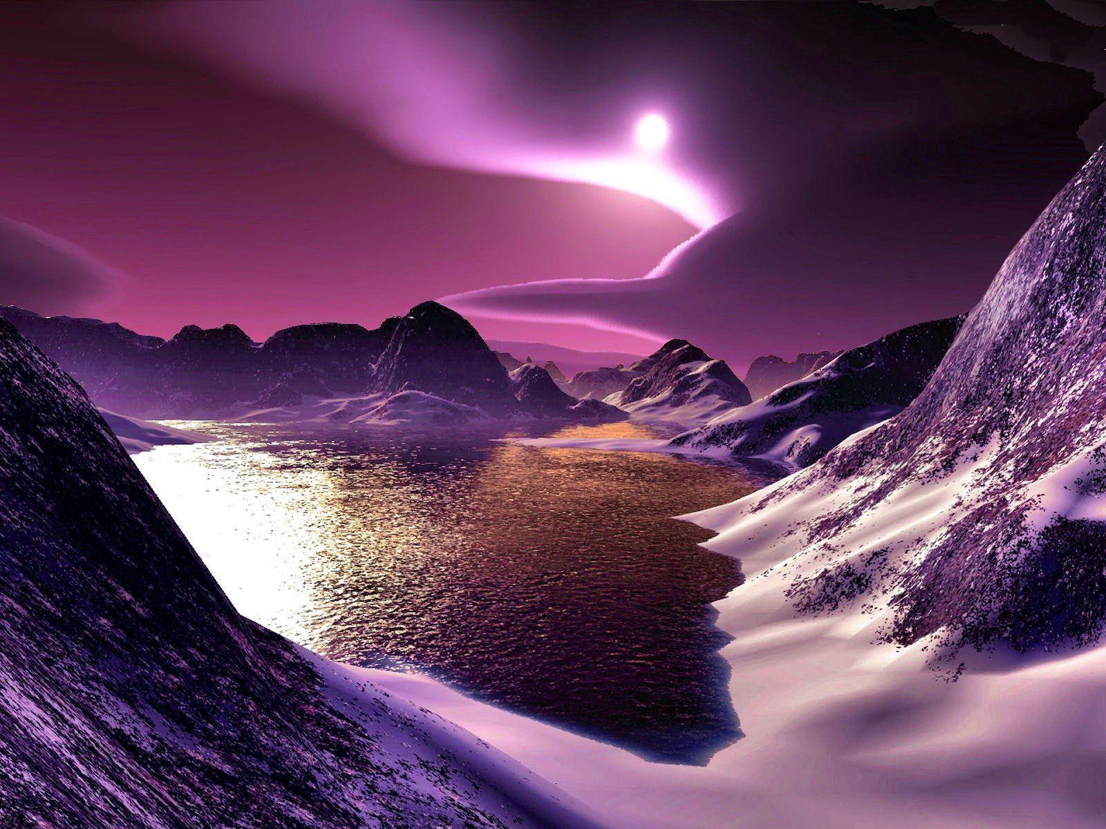 88398 Hintergrundbild herunterladen Licht, Mond, Natur, Mountains, Übernachtung, Clouds, See, Scheinen, Grafik, Graphics, Fuß - Bildschirmschoner und Bilder kostenlos