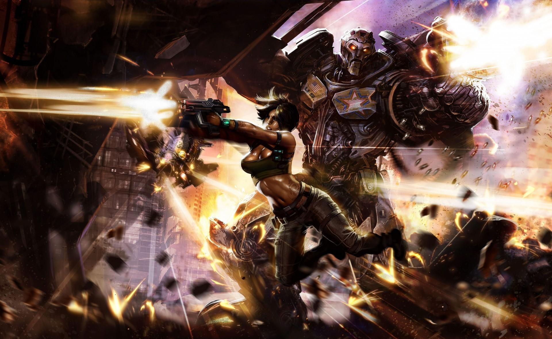 86403 Screensavers and Wallpapers Robot for phone. Download Fantasy, Weapon, Girl, Robot, Shooting, Cyborg, Destruction pictures for free