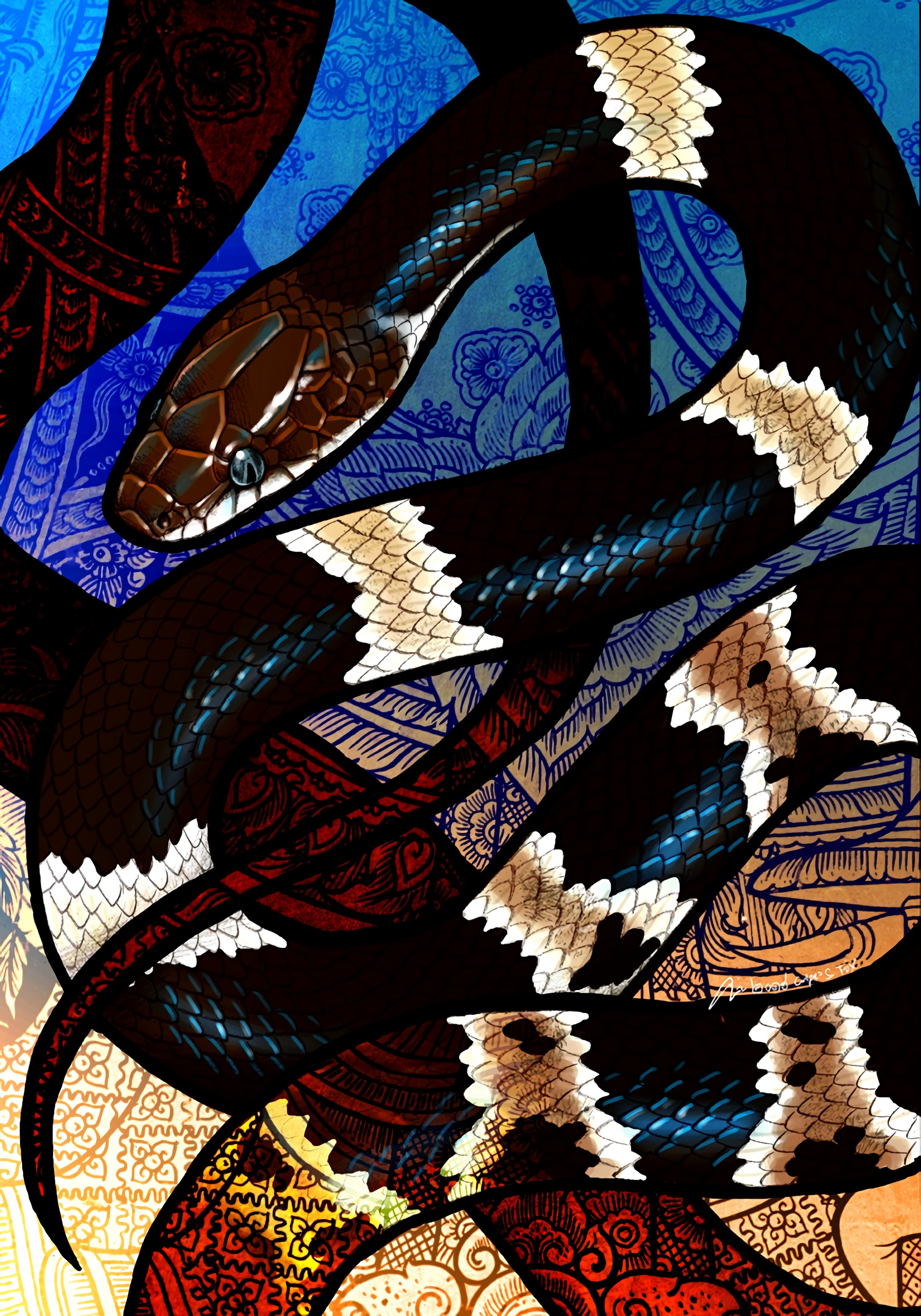 96475 Screensavers and Wallpapers Snake for phone. Download Art, Pattern, Snake, Scales, Scale pictures for free