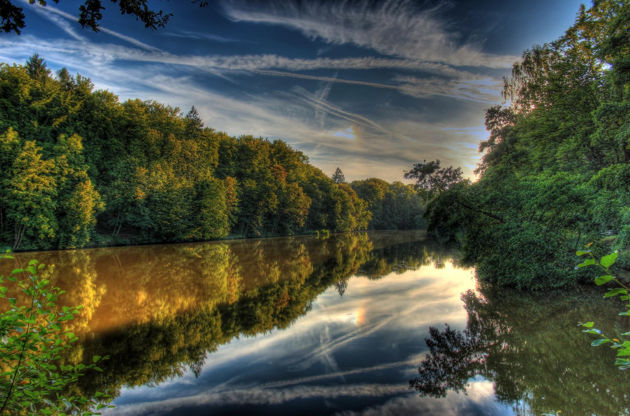 118573 Hintergrundbild herunterladen Landschaft, Natur, Flüsse, Hdr, Deutschland, Hessen Lich - Bildschirmschoner und Bilder kostenlos