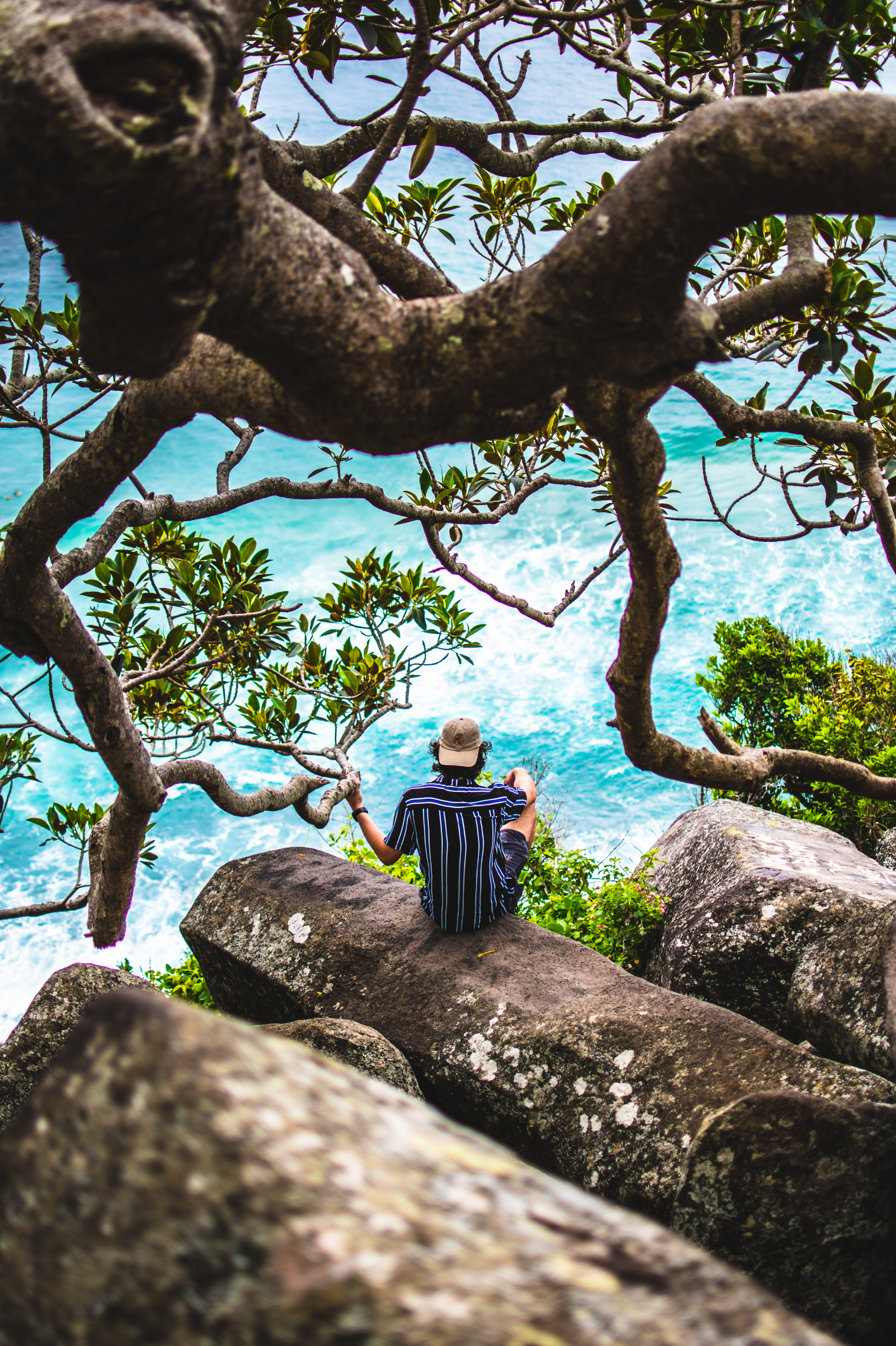 146571 Screensavers and Wallpapers Human for phone. Download Human, Nature, Stones, Sea, Privacy, Seclusion, Person, Loneliness pictures for free