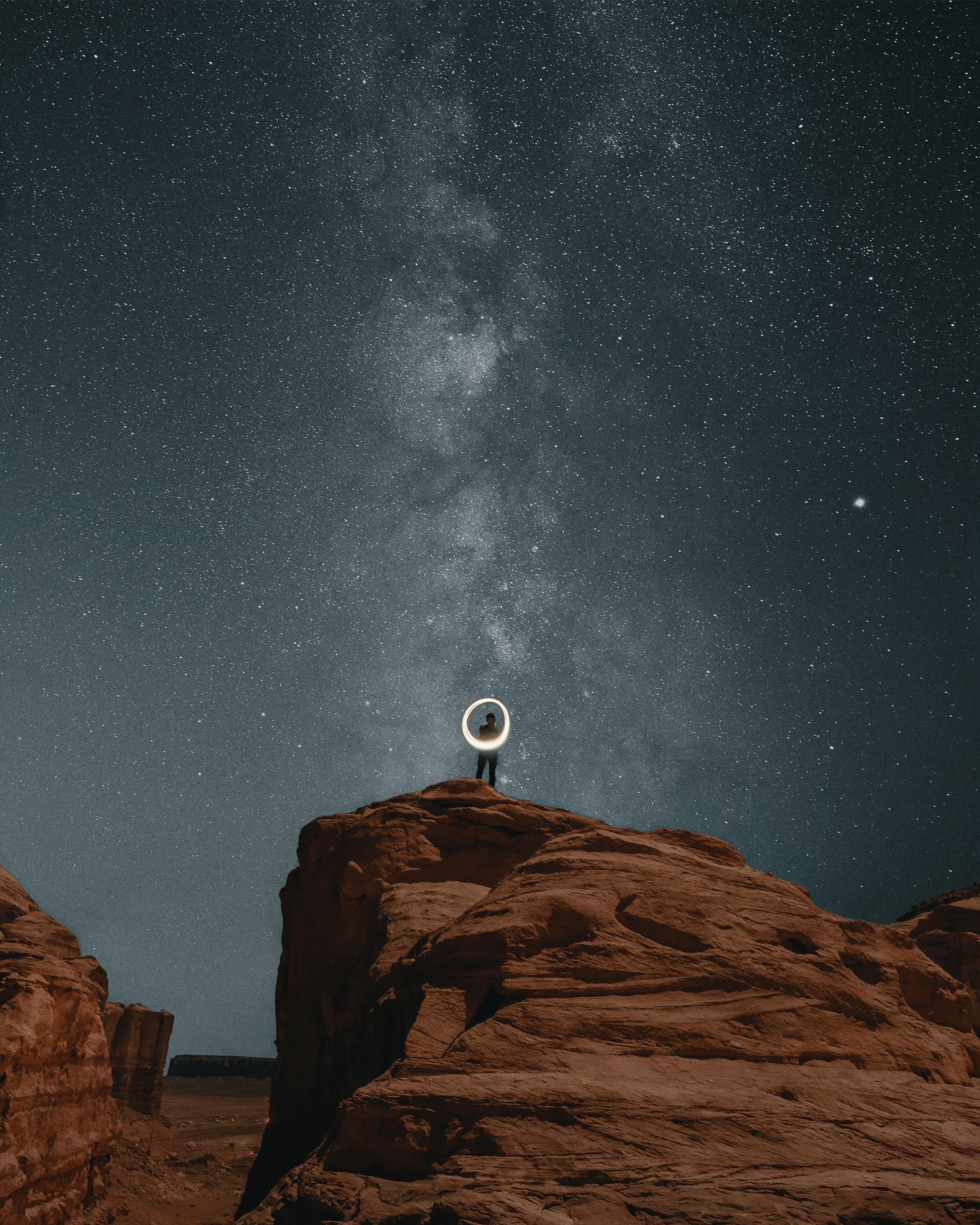 154423 download wallpaper Nature, Alone, Lonely, Loneliness, Rocks, Canyon, Night screensavers and pictures for free