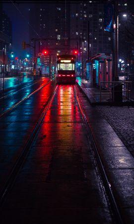 78664壁紙のダウンロードトロリーバス, やめる, 止める, 市, 都市, イブニング, 夕方, 点灯, 照明-スクリーンセーバーと写真を無料で