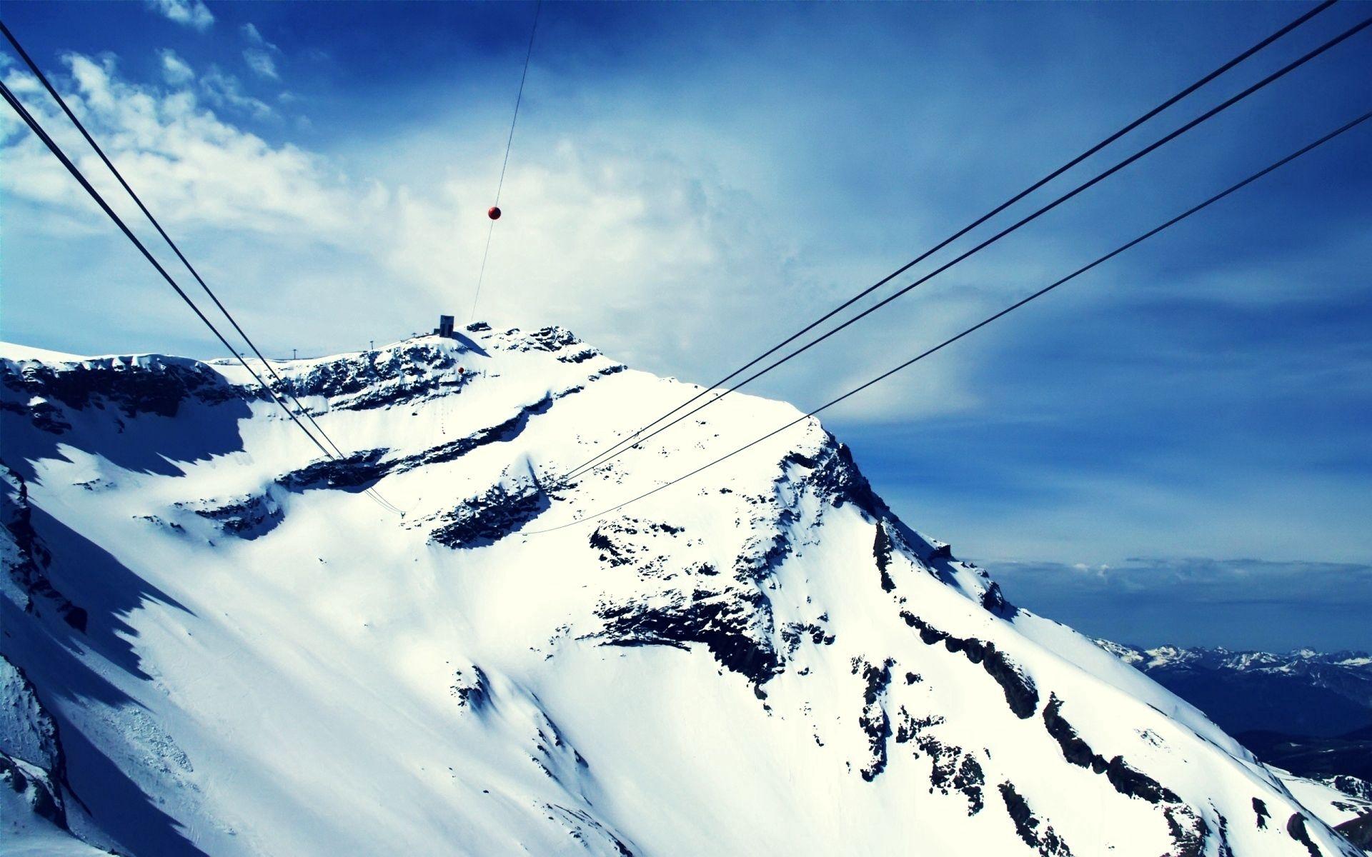 150490 Hintergrundbild herunterladen Natur, Schnee, Berg, Scheitel, Nach Oben, Kabel, Aufzug, Lift, Drahtseile - Bildschirmschoner und Bilder kostenlos