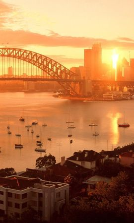 20964 скачать обои Пейзаж, Города, Мосты, Закат, Лодки, Сидней (Sydney) - заставки и картинки бесплатно