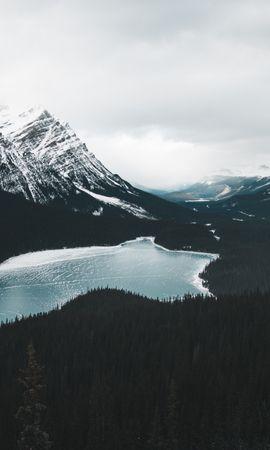 156912 скачать обои Природа, Озеро, Замерзший, Лес, Горы, Пейзаж - заставки и картинки бесплатно
