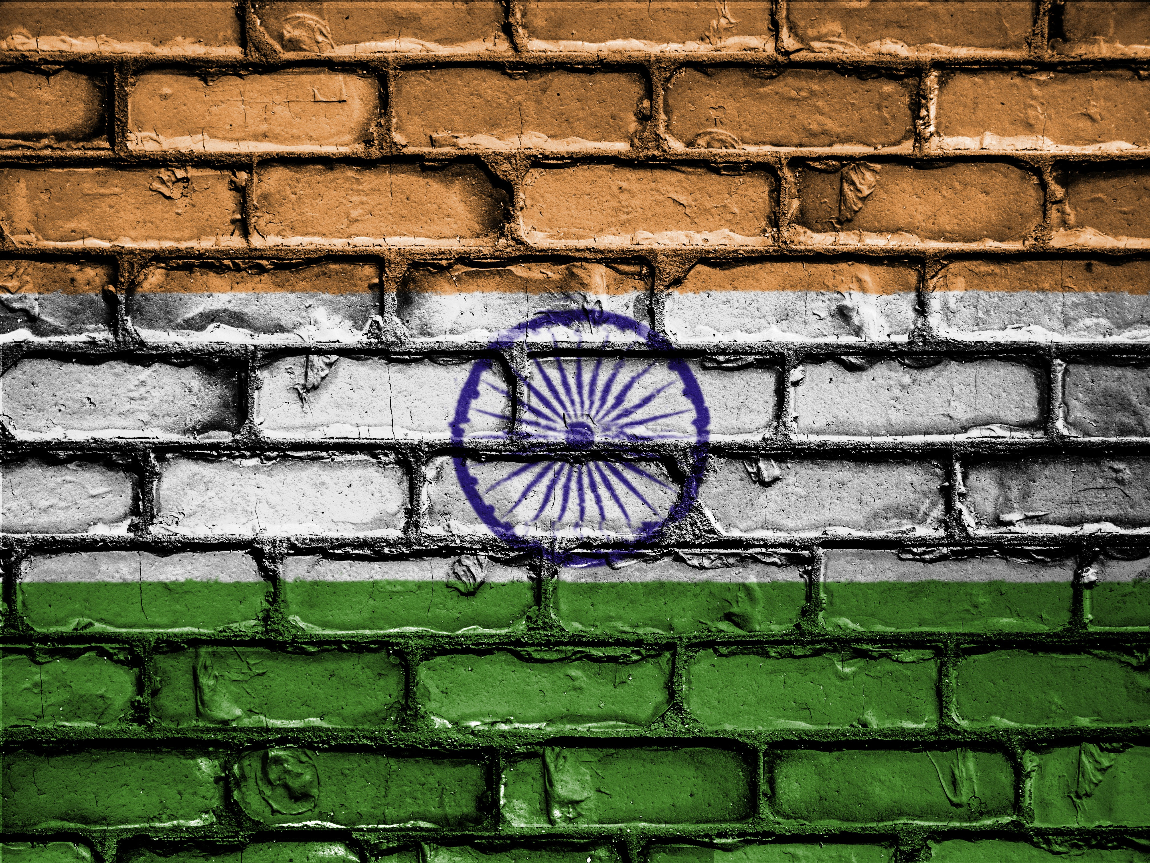 148290 Screensavers and Wallpapers Wall for phone. Download Flag, Texture, Textures, Paint, Wall, Brick, India pictures for free